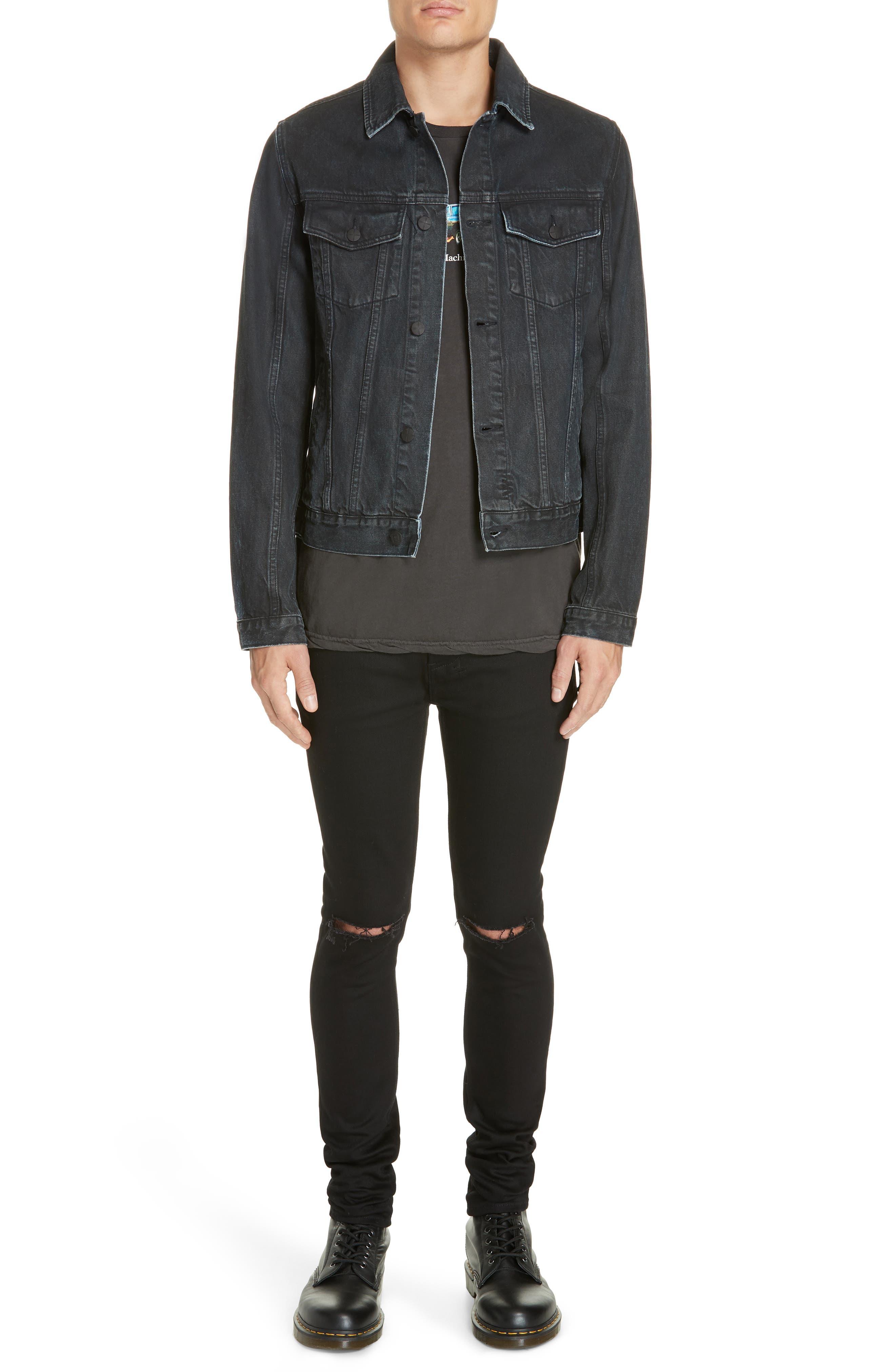 KSUBI,                             Classic Denim Jacket,                             Alternate thumbnail 7, color,                             BLACK TOP