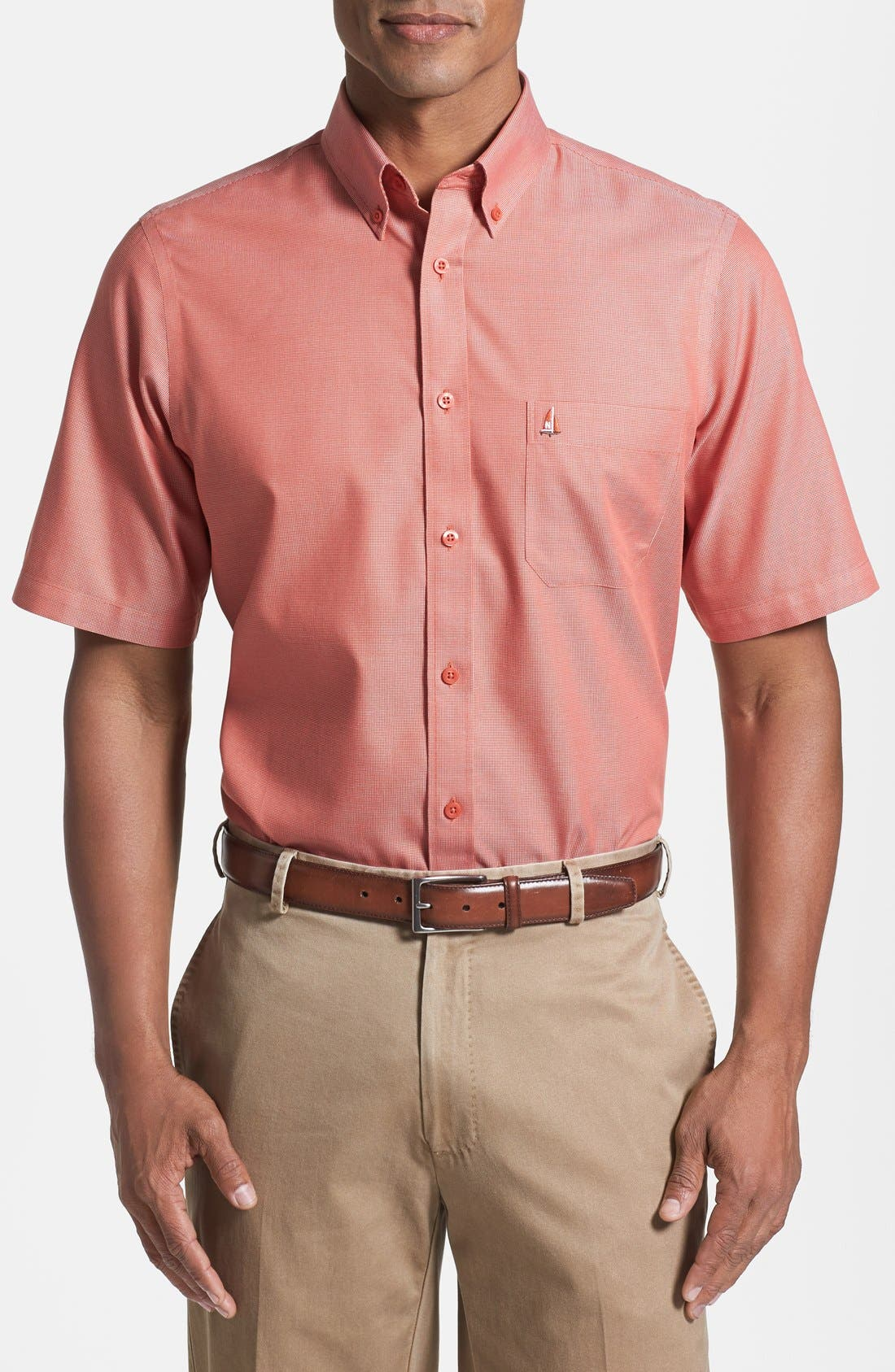 'Classic' Smartcare<sup>™</sup> Regular Fit Short Sleeve Cotton Sport Shirt,                             Main thumbnail 25, color,