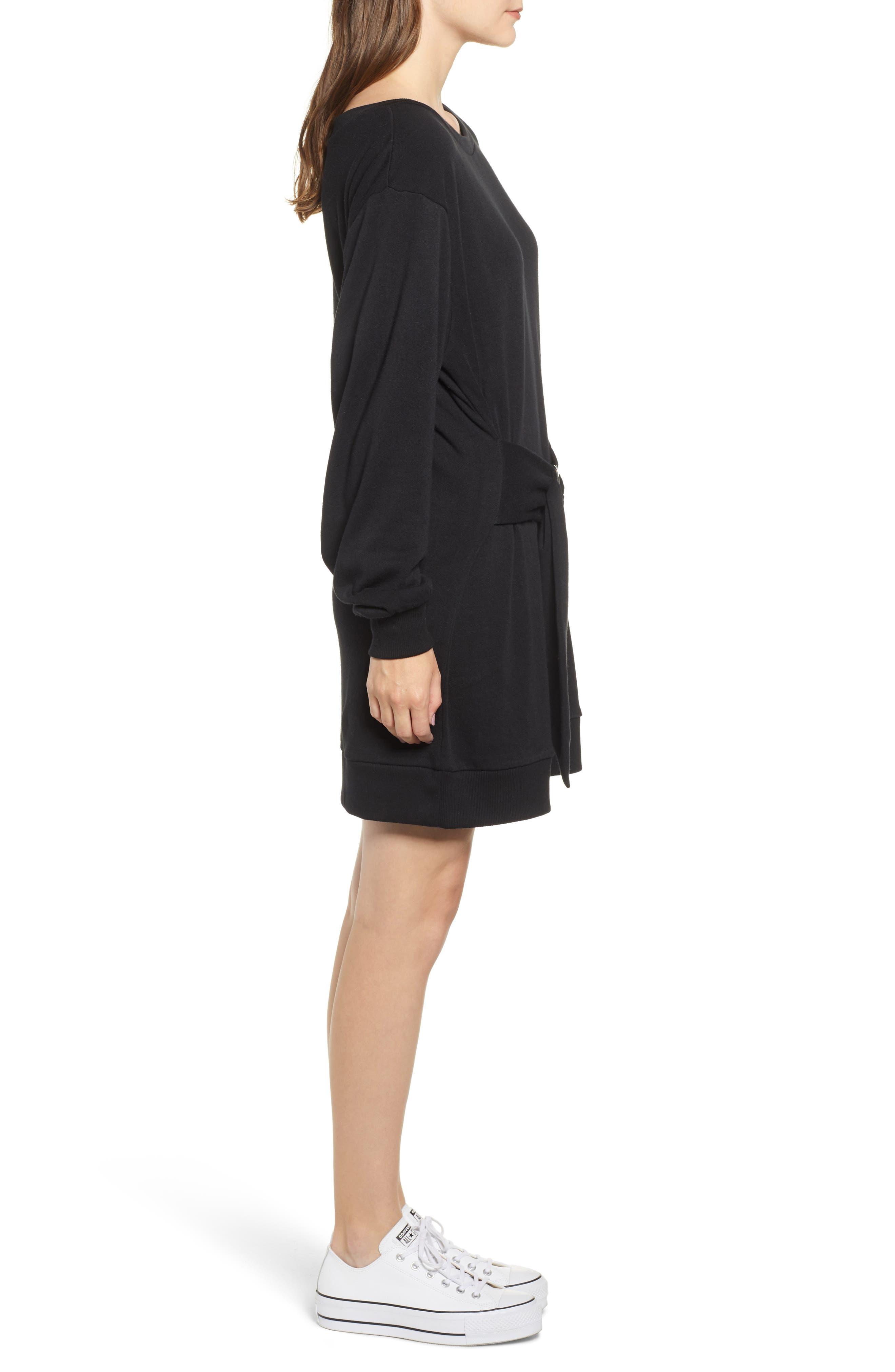 Belted Sweatshirt Dress,                             Alternate thumbnail 3, color,                             BLACK