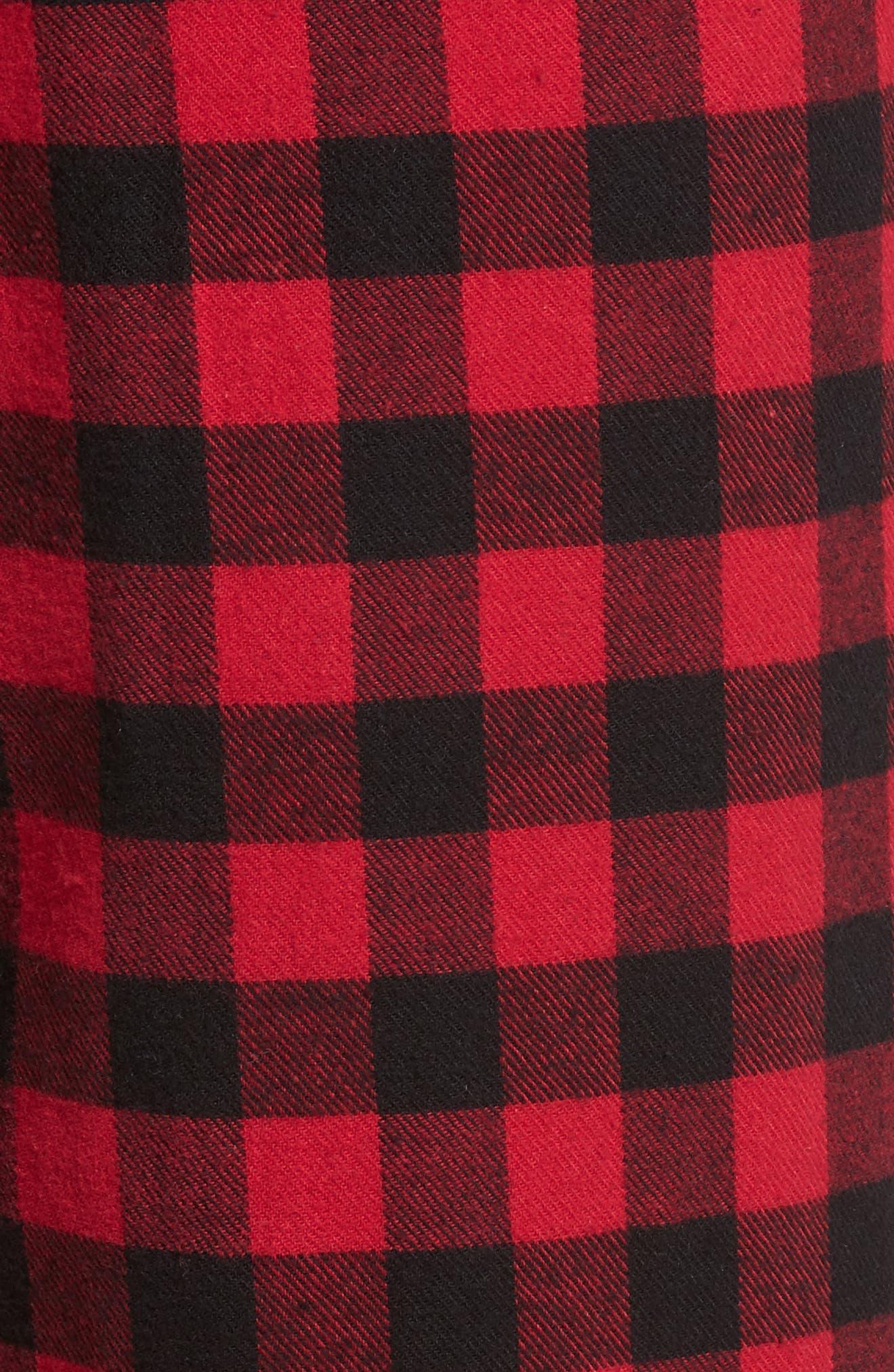 Flannel Pajama Pants,                             Alternate thumbnail 5, color,                             RED CHILI- BLACK BUFFALO