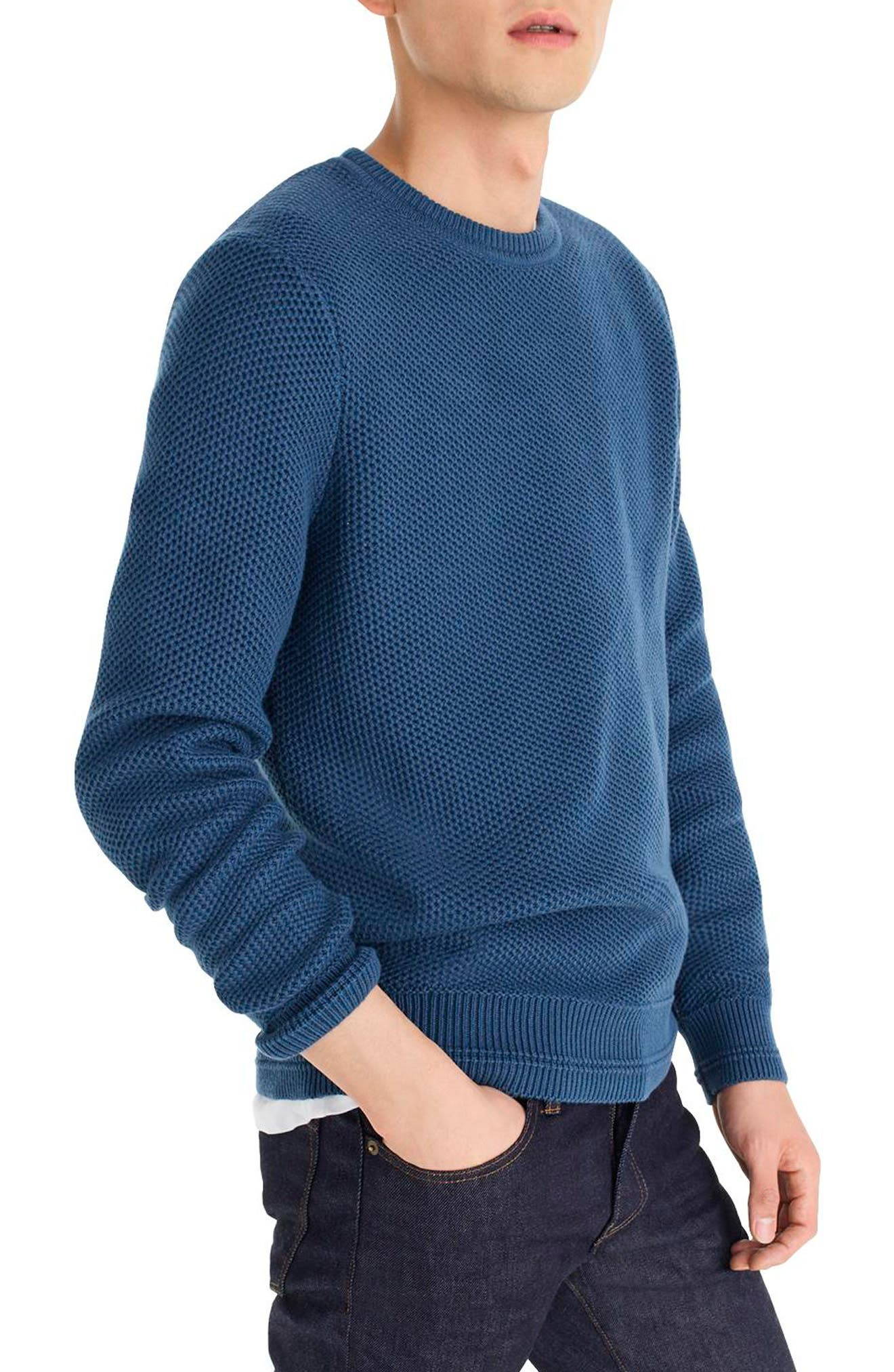 Honeycomb Cotton Crewneck Sweater,                             Alternate thumbnail 3, color,                             400