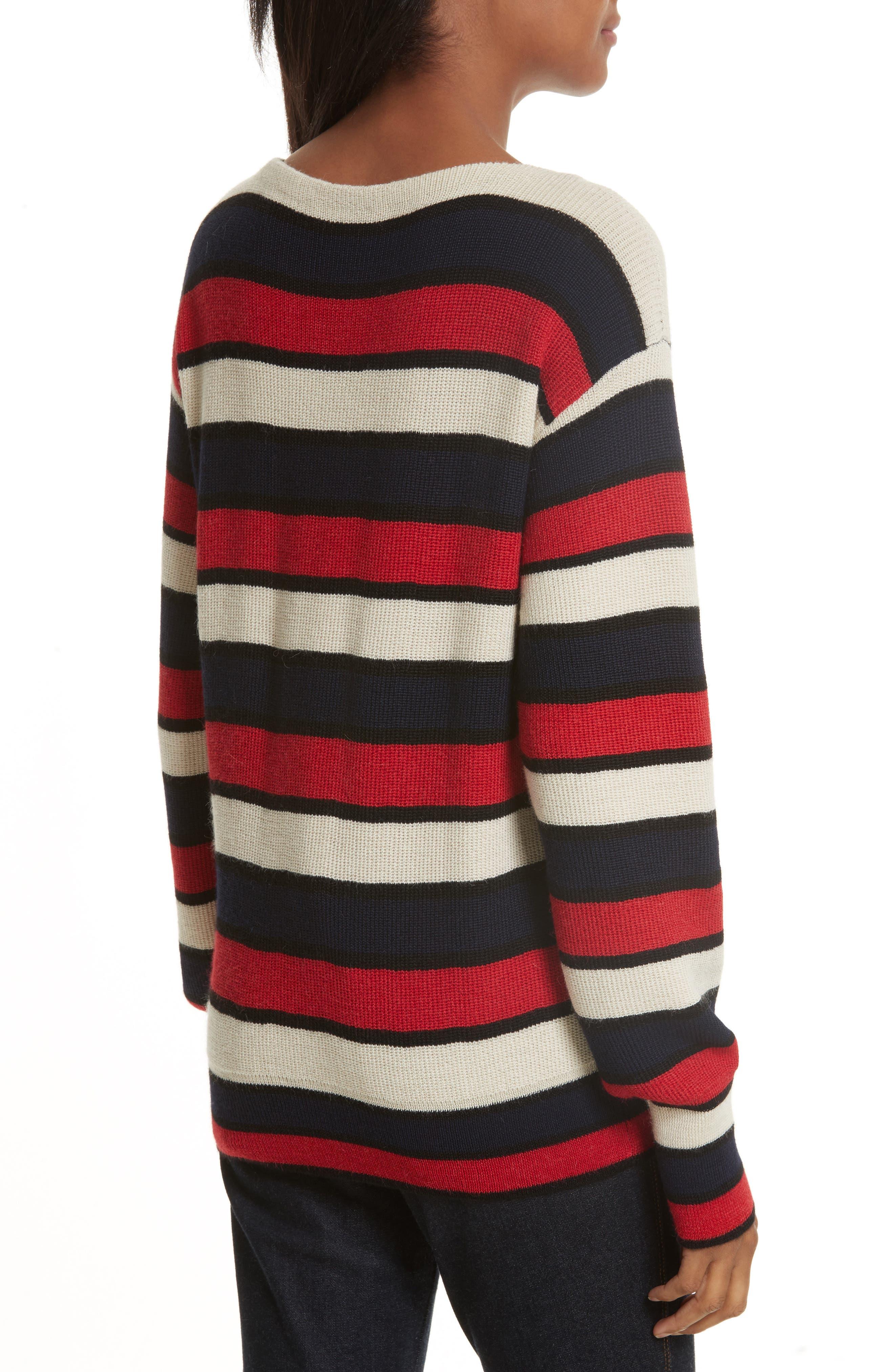Austrie Stripe Alpaca Sweater,                             Alternate thumbnail 2, color,                             616