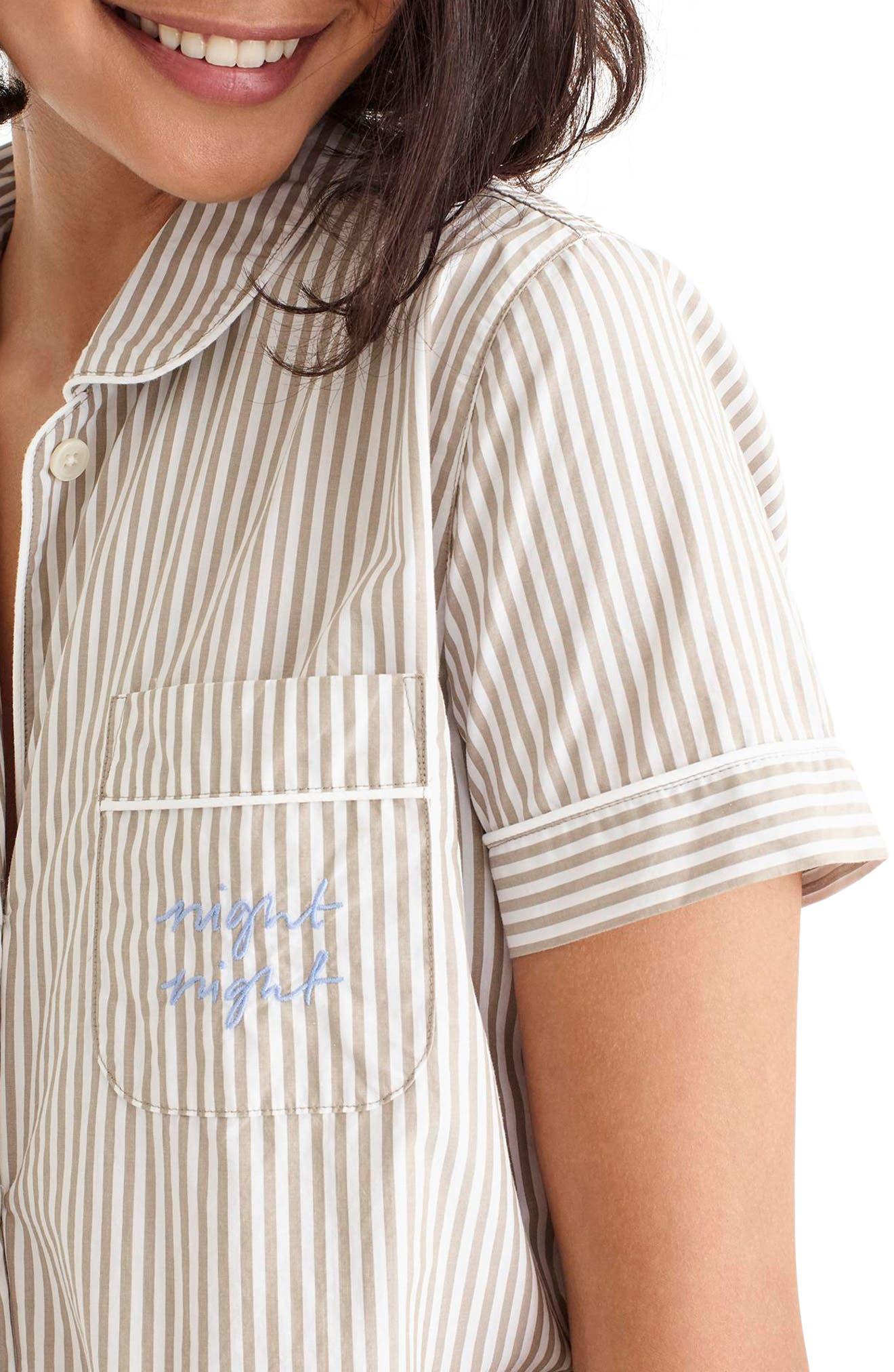 Night Night Short Pajamas,                             Alternate thumbnail 5, color,                             TAN WHITE STRIPE