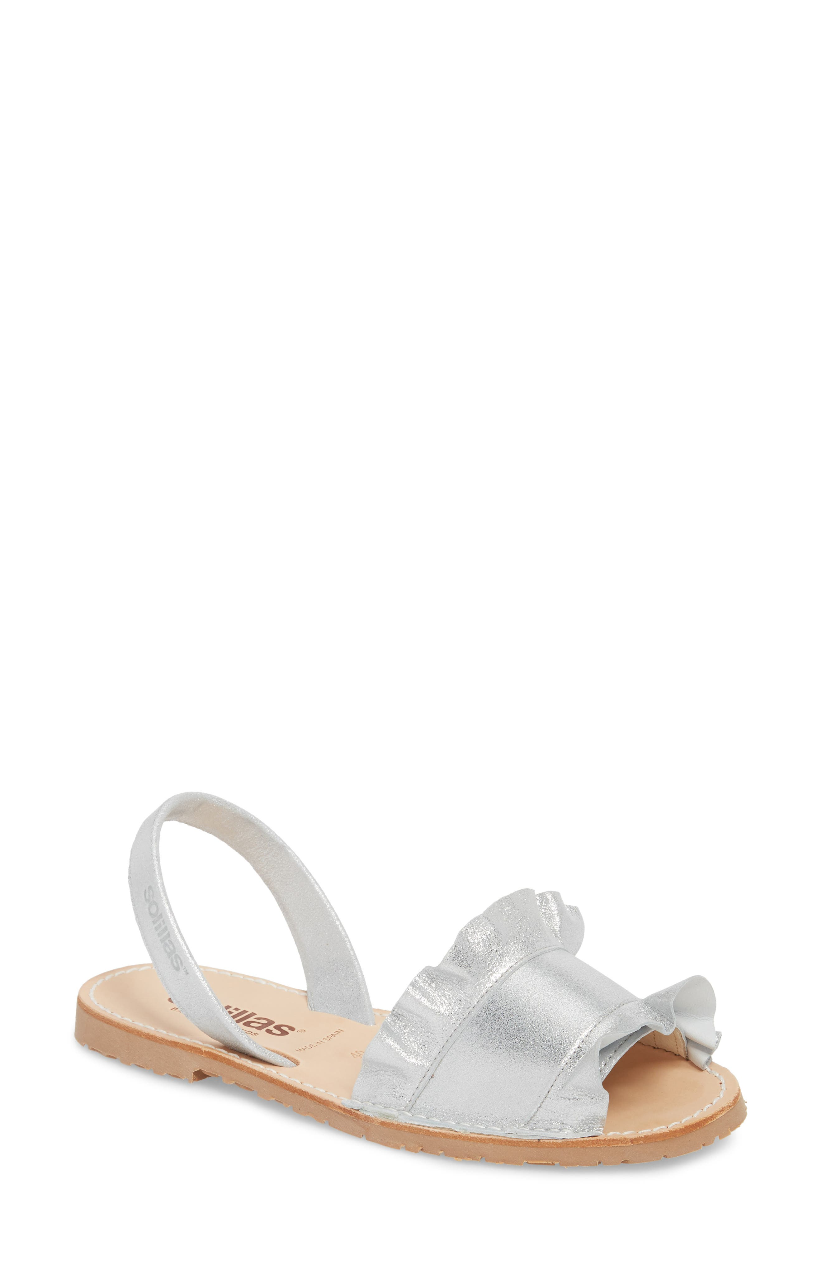 SOLILLAS Frilled Flat Sandal, Main, color, 040