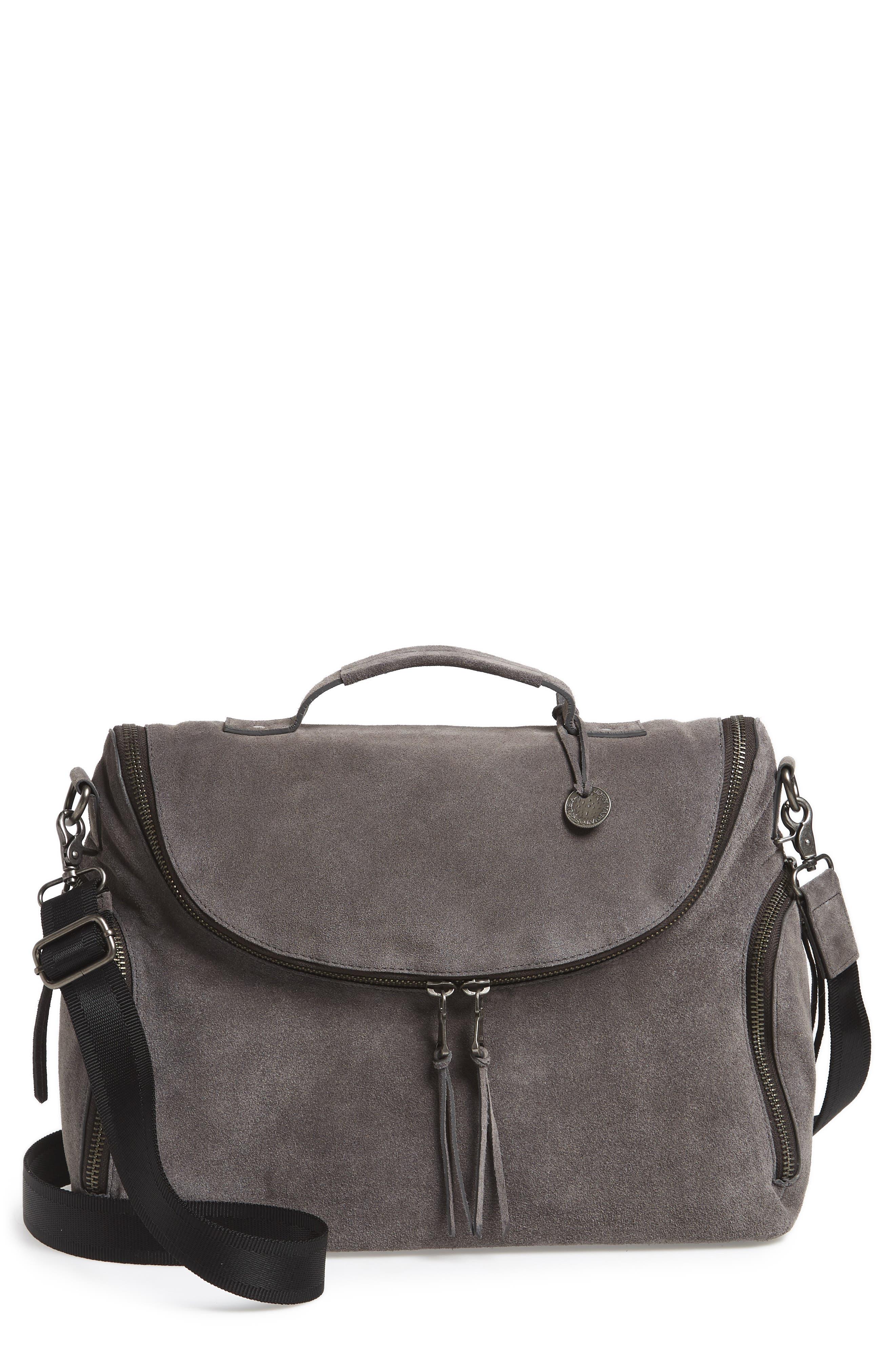 Brooklyn Suede Messenger Bag,                         Main,                         color, 001