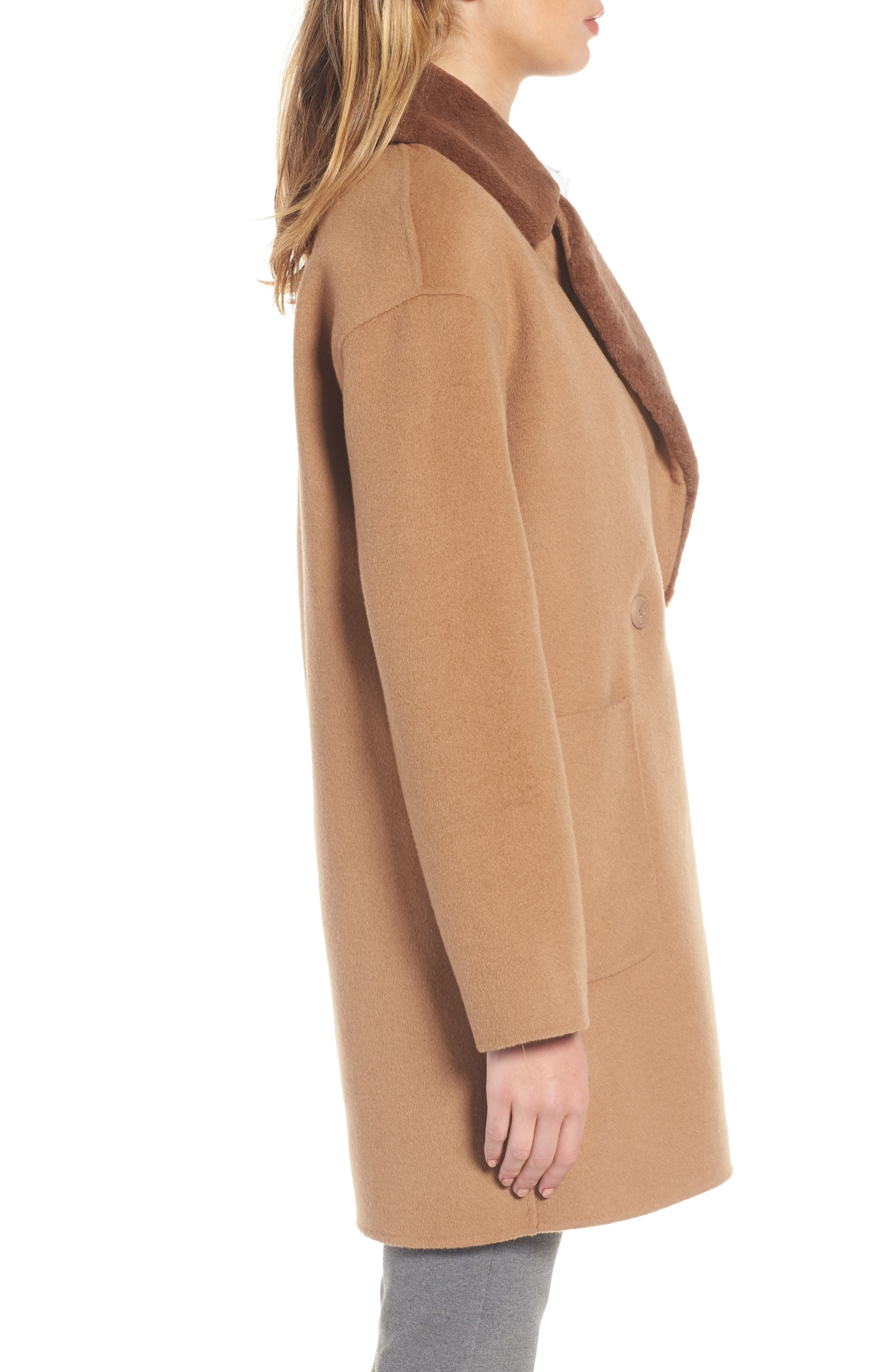 Dawn Genuine Shearling Collar Double Face Coat,                             Alternate thumbnail 6, color,
