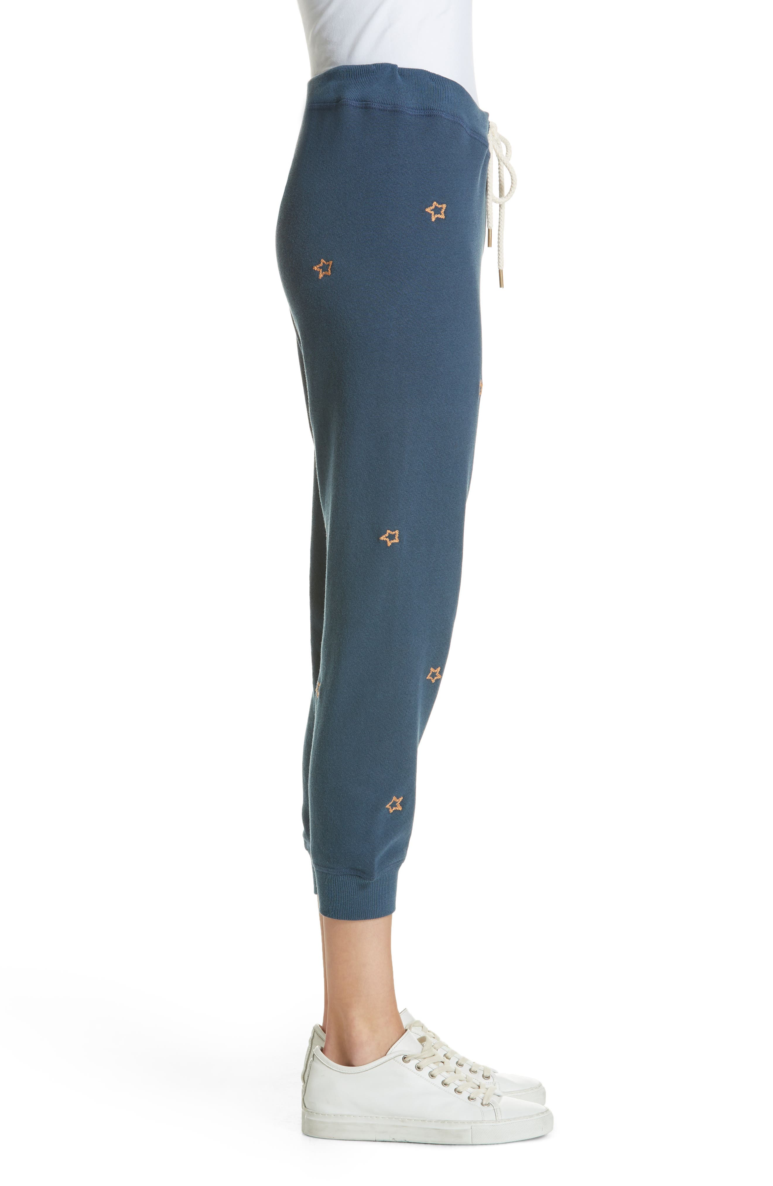 The Cropped Sweatpants,                             Alternate thumbnail 3, color,                             NAVY/ STAR EMBROIDERY