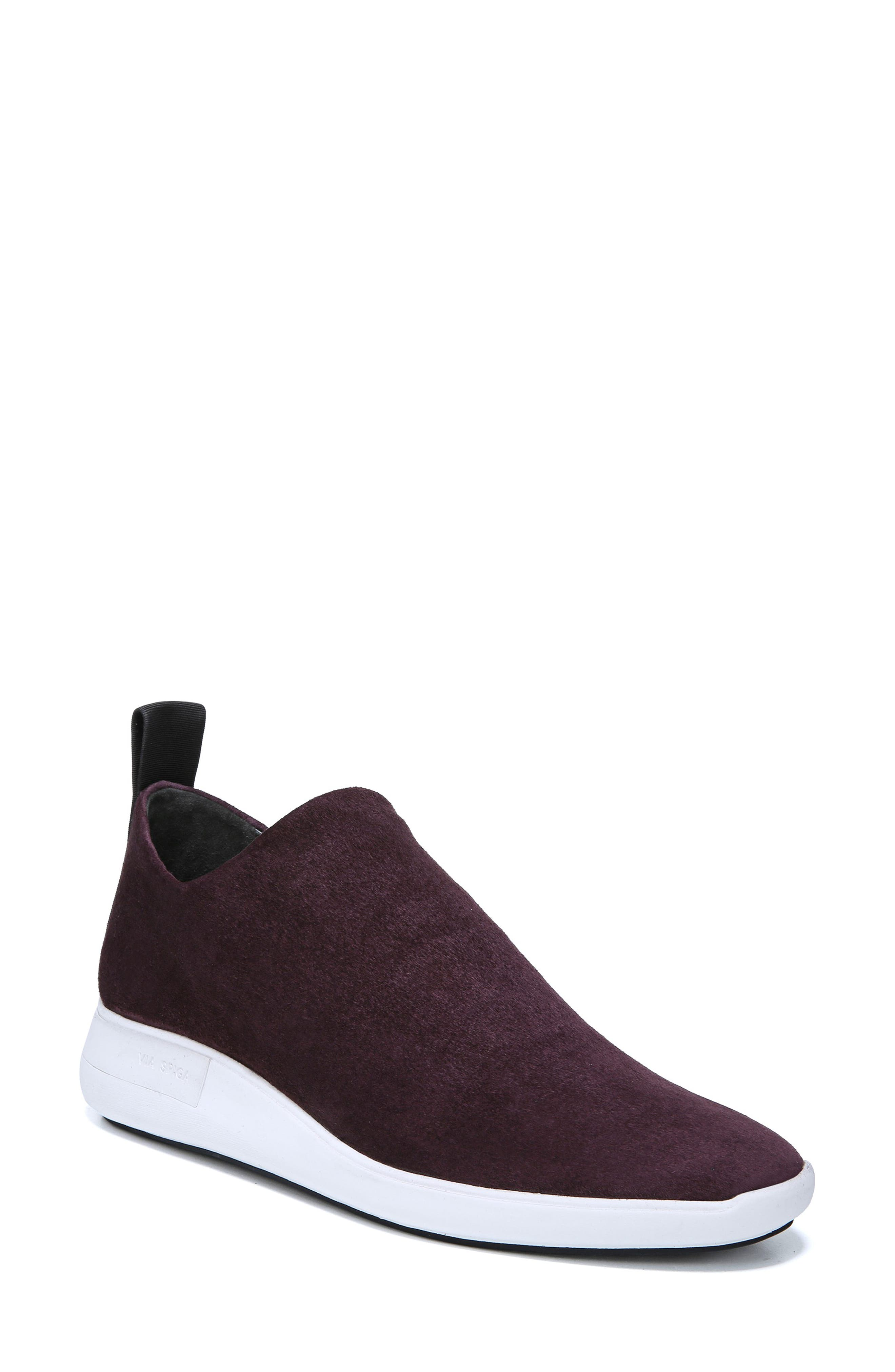 VIA SPIGA Marlow Stretch-Suede Sock Sneakers in Port