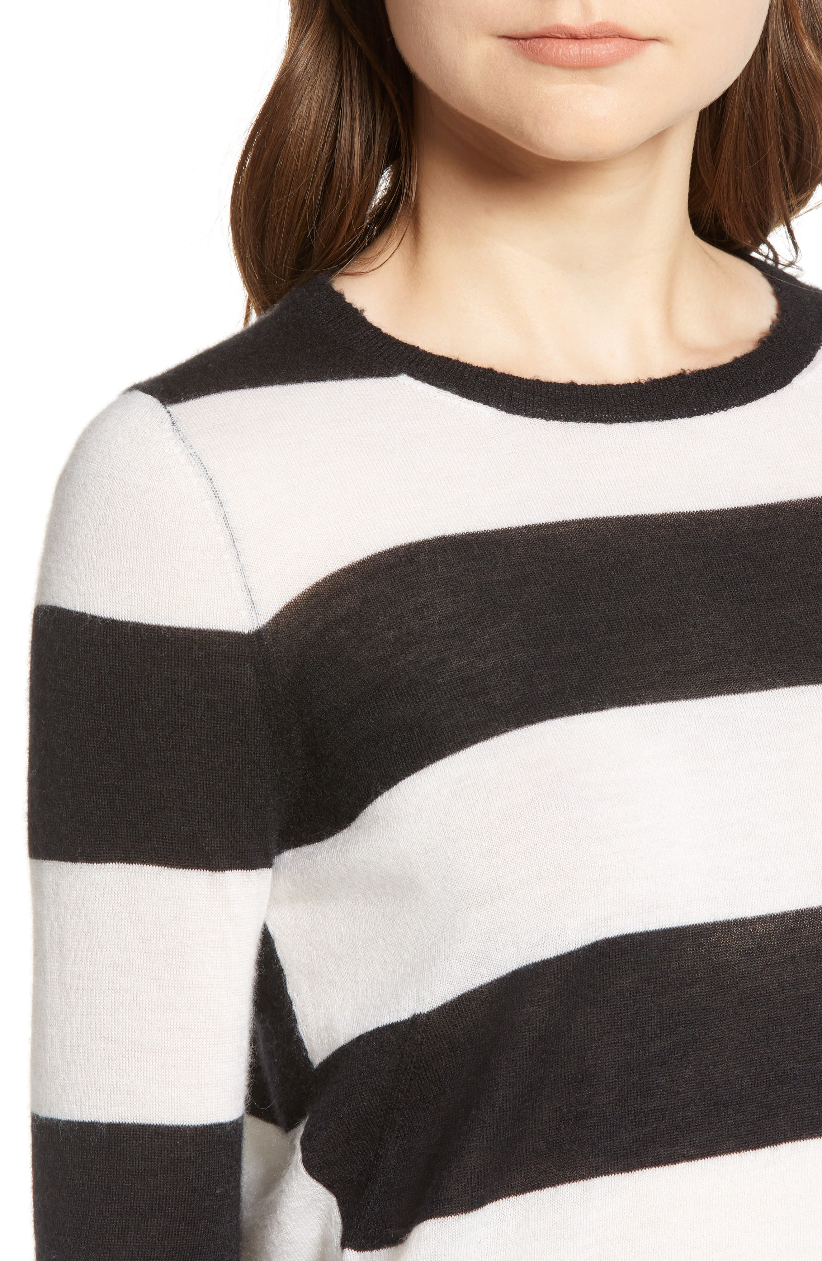 Source Stripe Cashmere Sweater,                             Alternate thumbnail 4, color,                             001