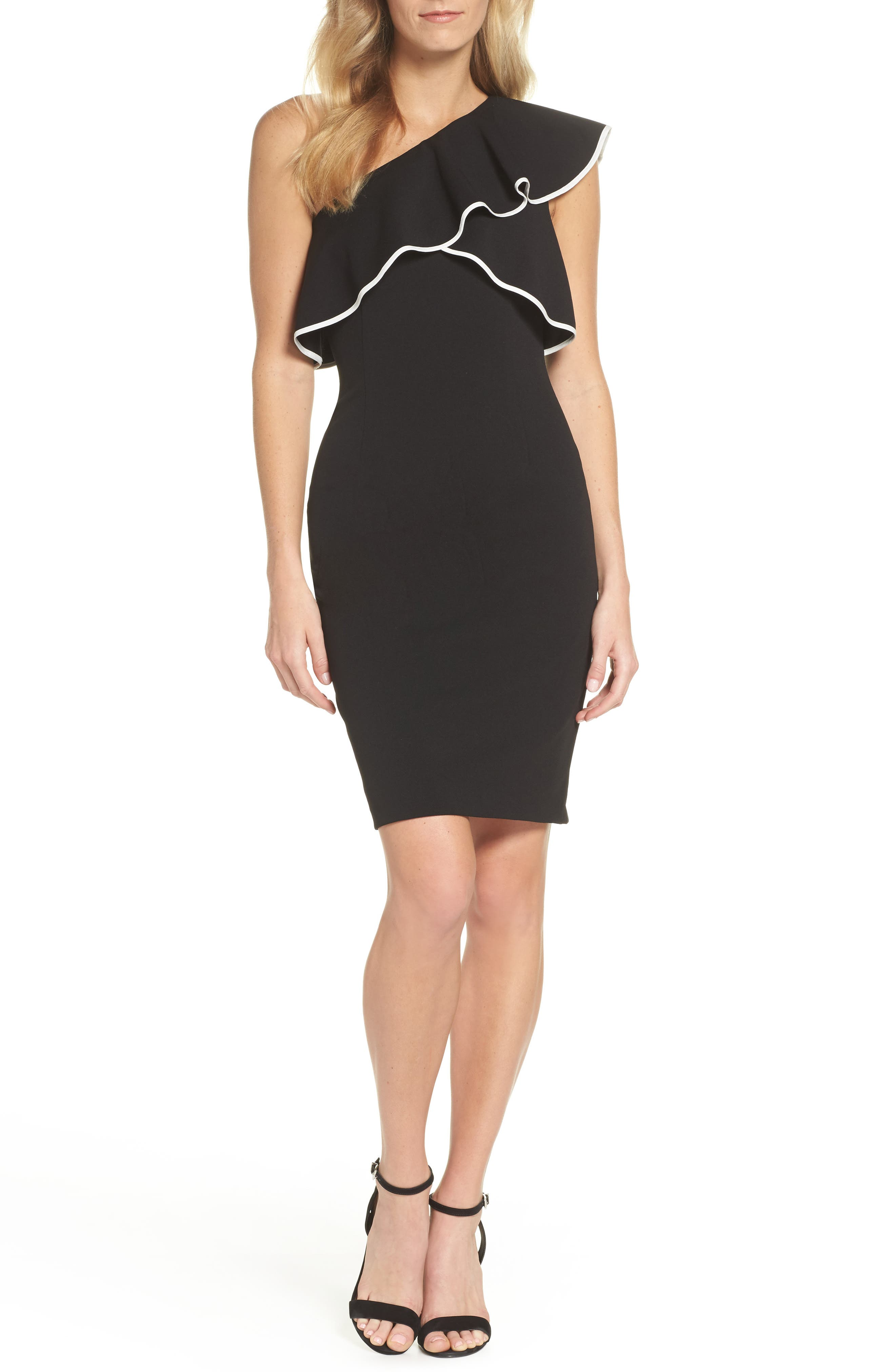 Crepe One-Shoulder Sheath Dress,                         Main,                         color, 019