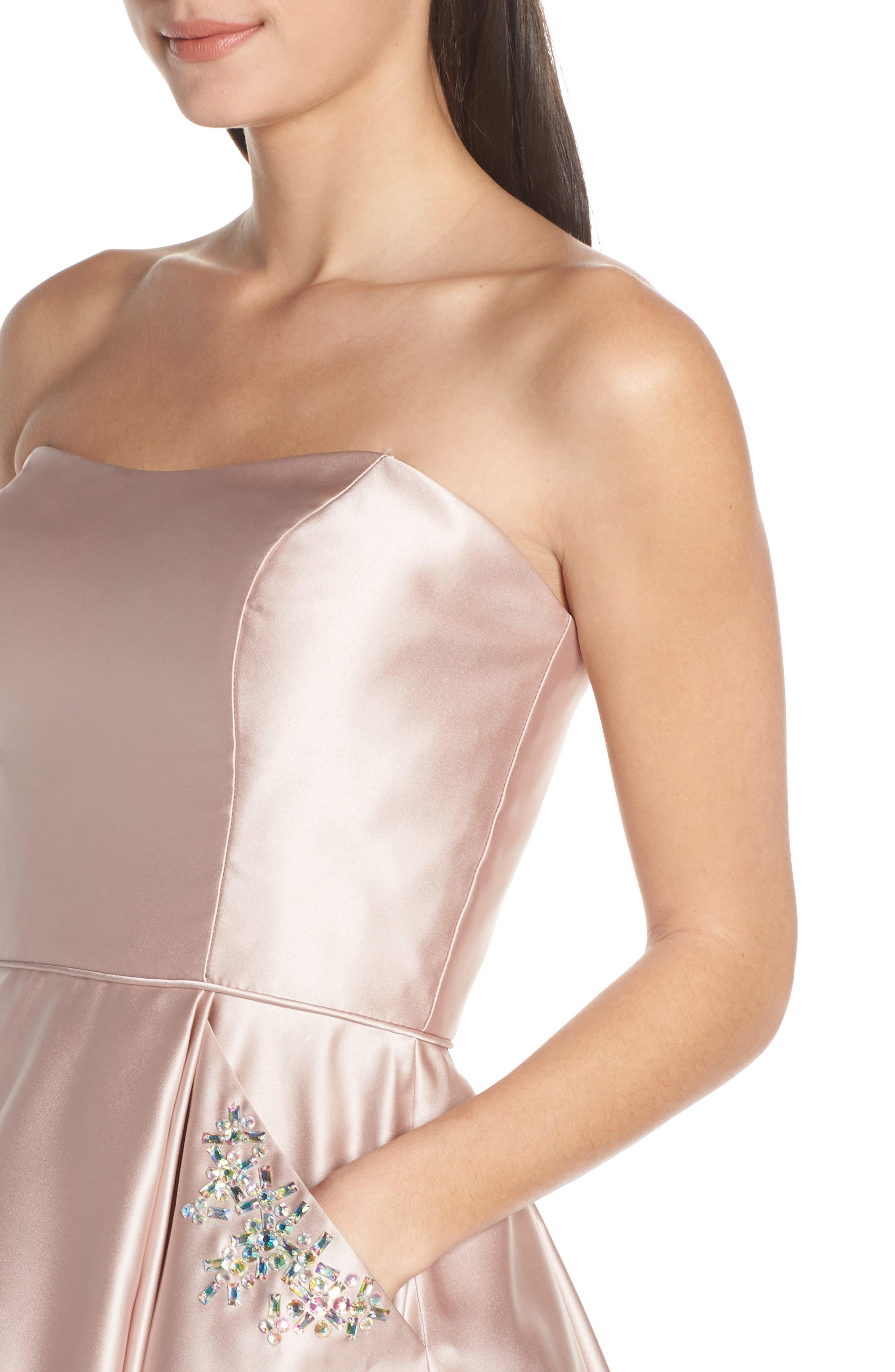 BLONDIE NITES,                             Embellished Satin Fit & Flare Dress,                             Alternate thumbnail 4, color,                             BEIGE