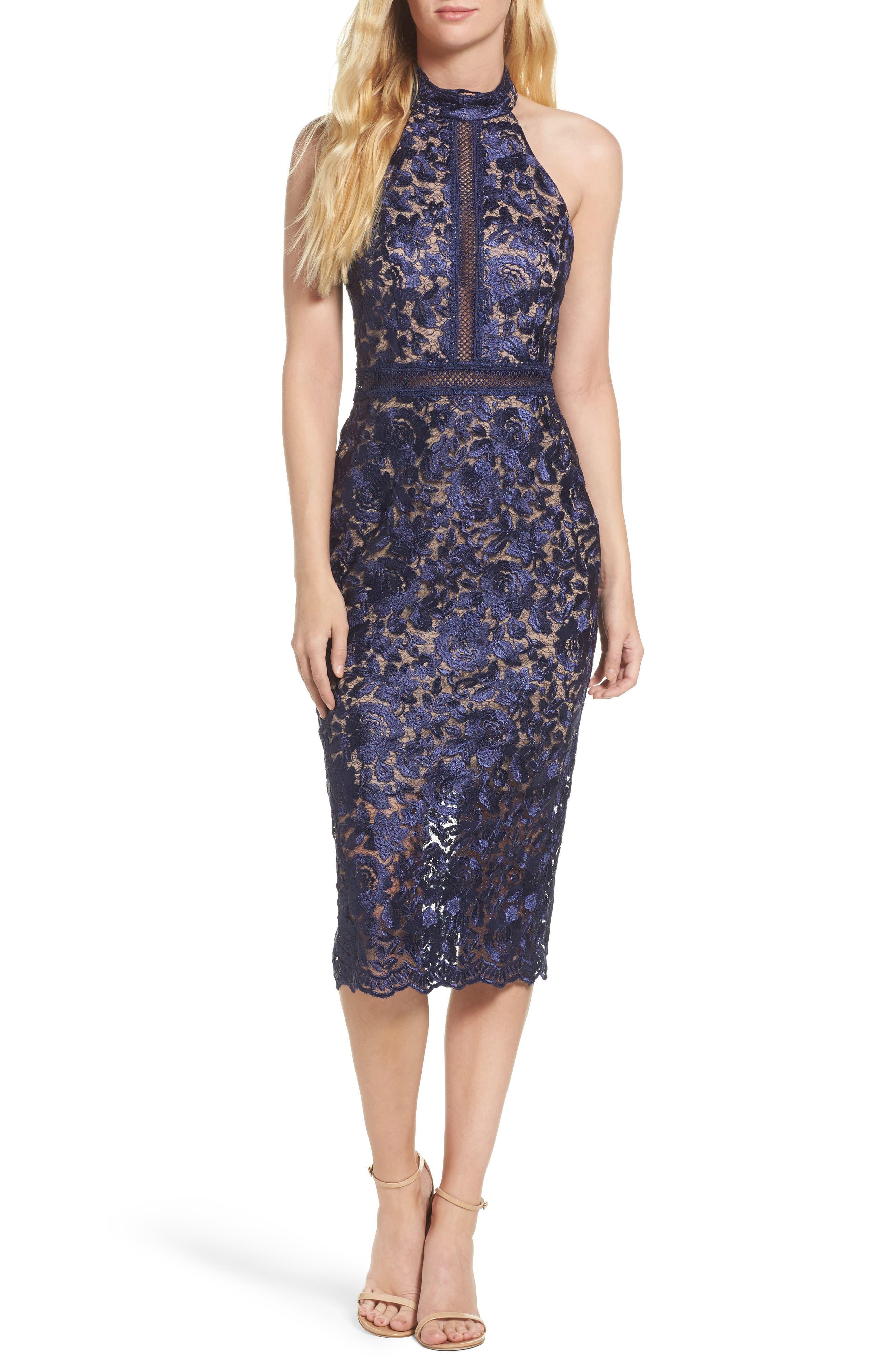 Illusion Lace Sheath Dress,                         Main,                         color, 001
