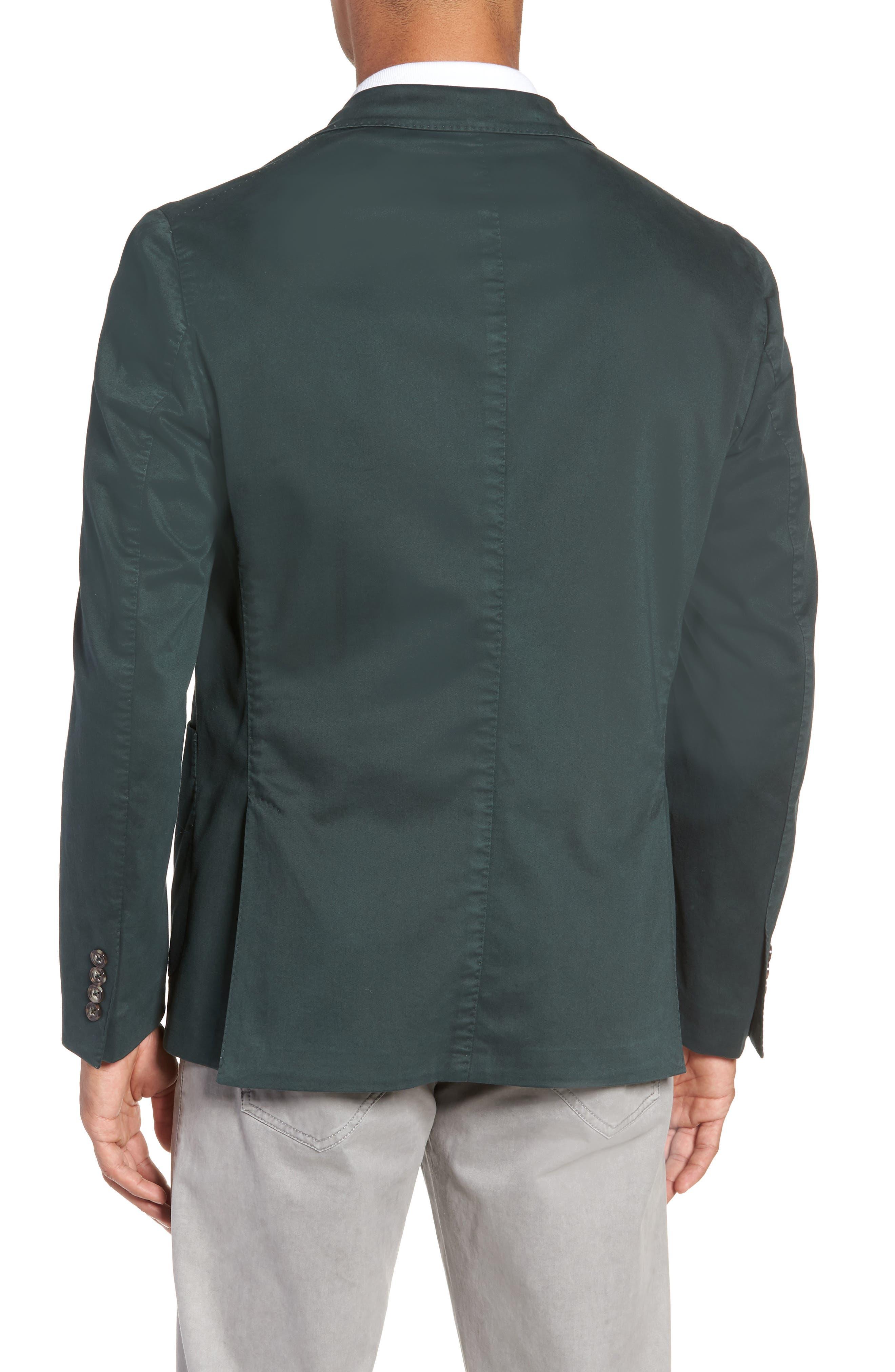 Trim Fit Stretch Cotton Blazer,                             Alternate thumbnail 2, color,                             GREEN