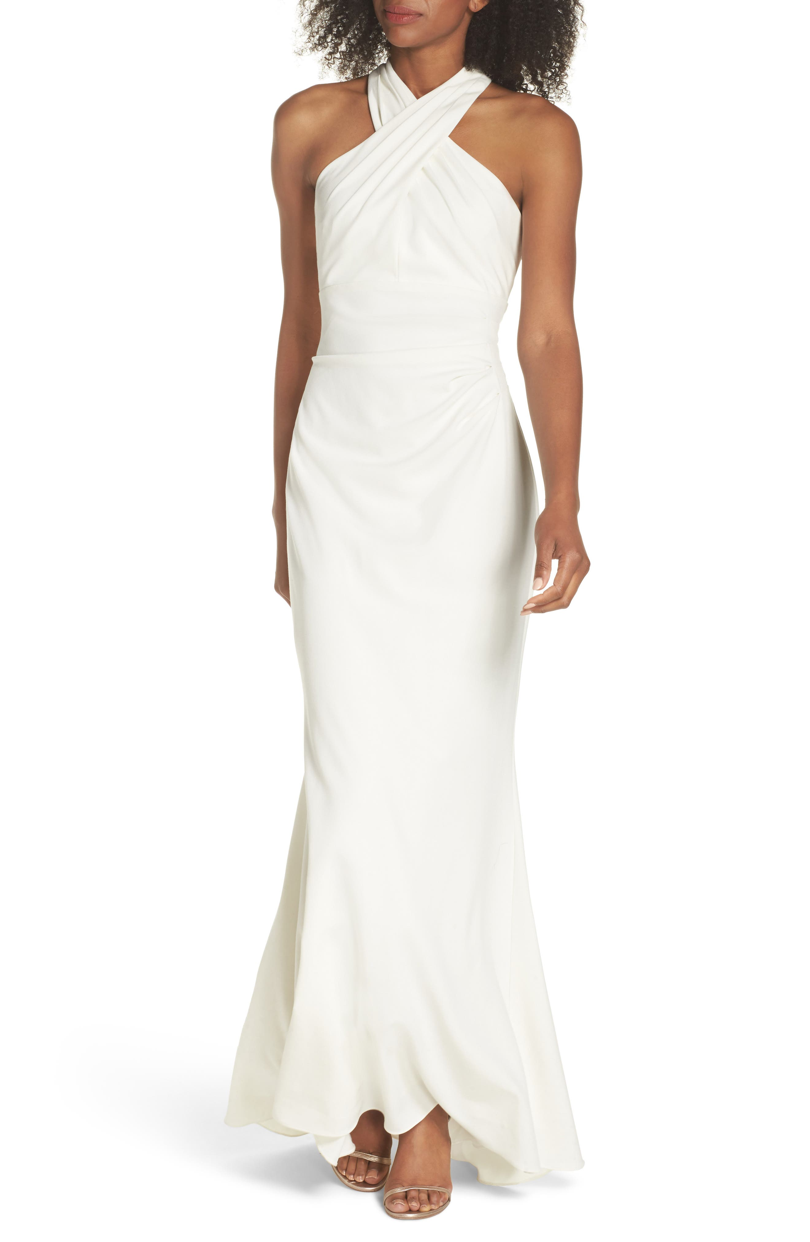 Side Pleat Crossneck Gown,                             Main thumbnail 1, color,                             IVORY