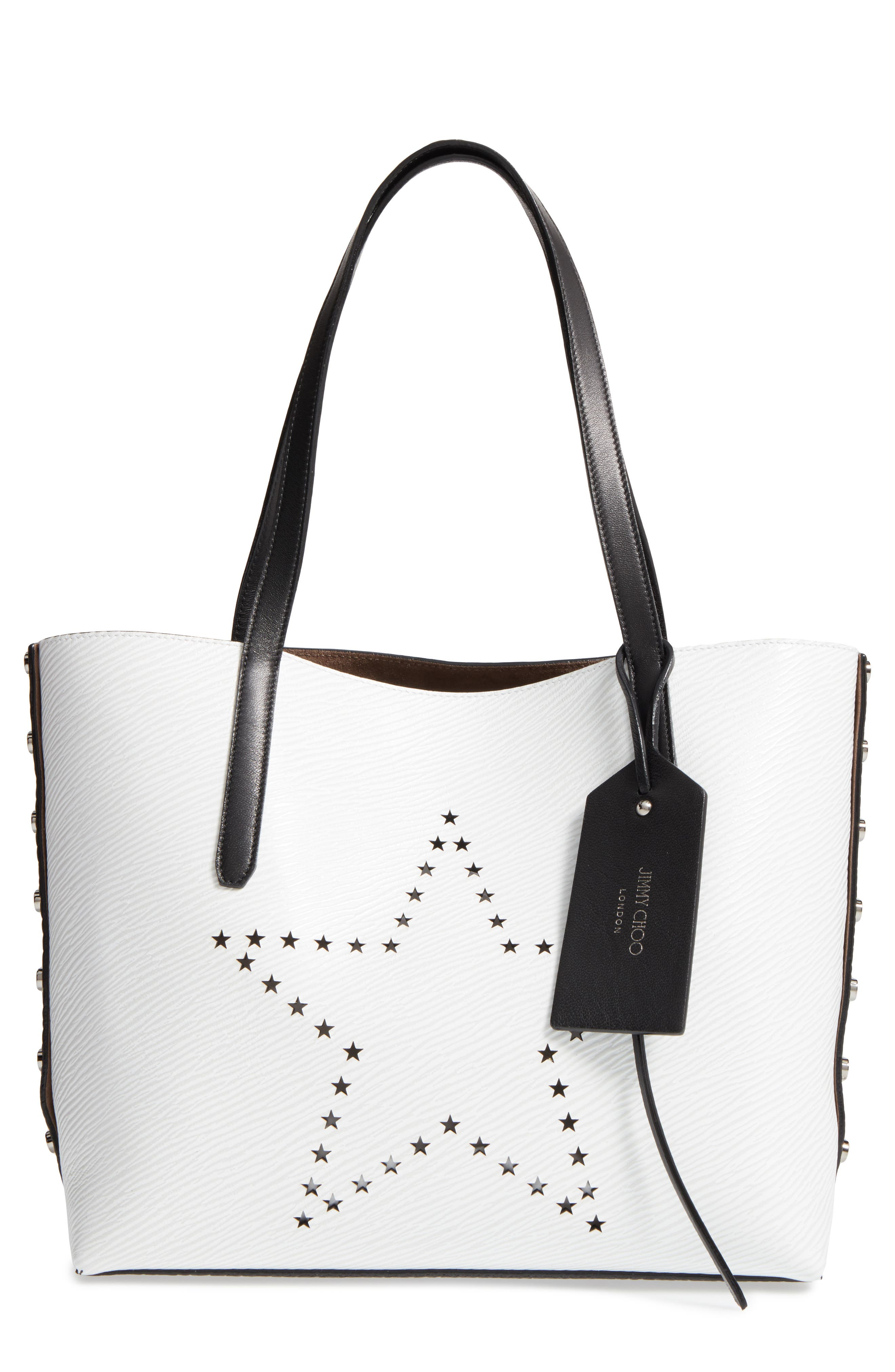 Star Studded Leather Tote,                         Main,                         color, 100