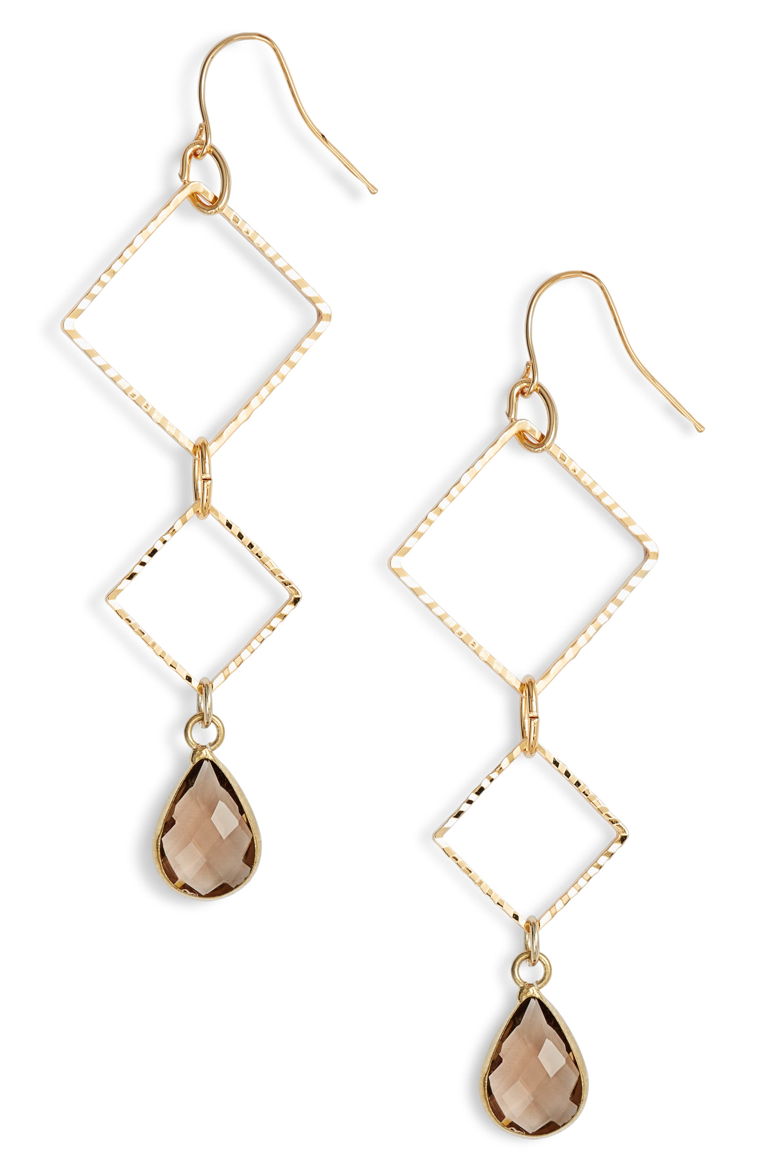 ELISE M. Callie Triangle Drop Earrings in Gold/ Brown