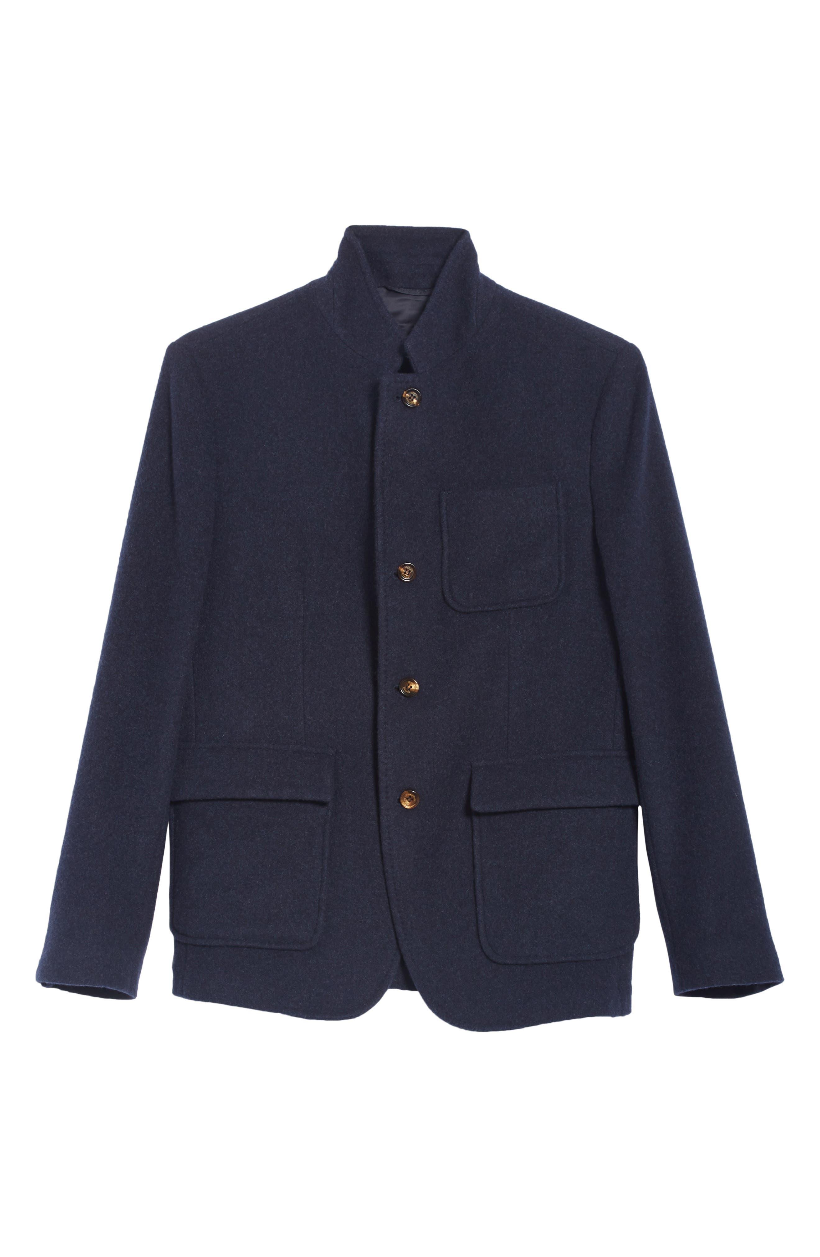 Wool & Cashmere Coat,                             Alternate thumbnail 5, color,                             NAVY