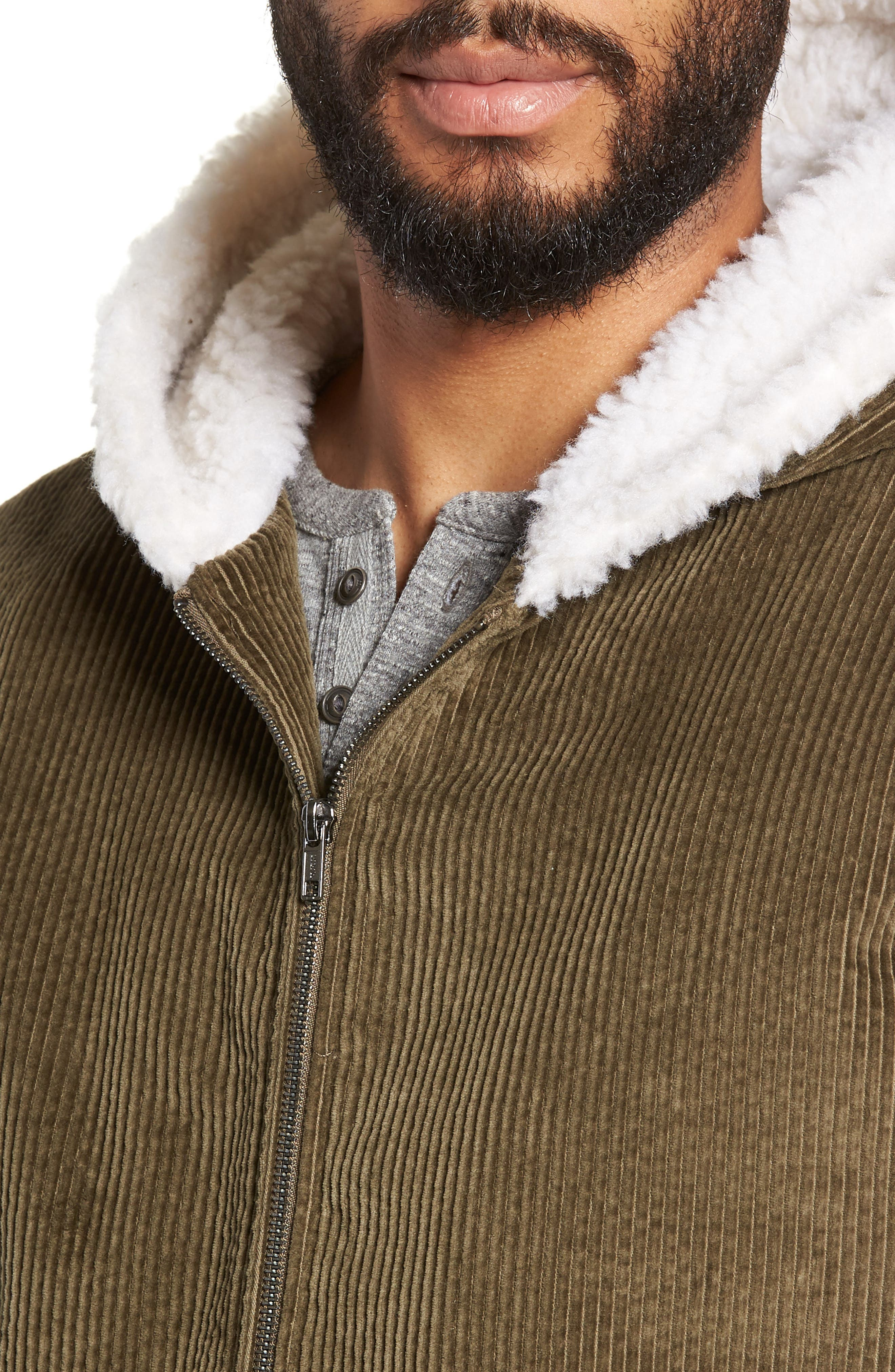 Champlain Cotton Corduroy & Faux Shearling Hooded Bomber Jacket,                             Alternate thumbnail 4, color,                             ARMY