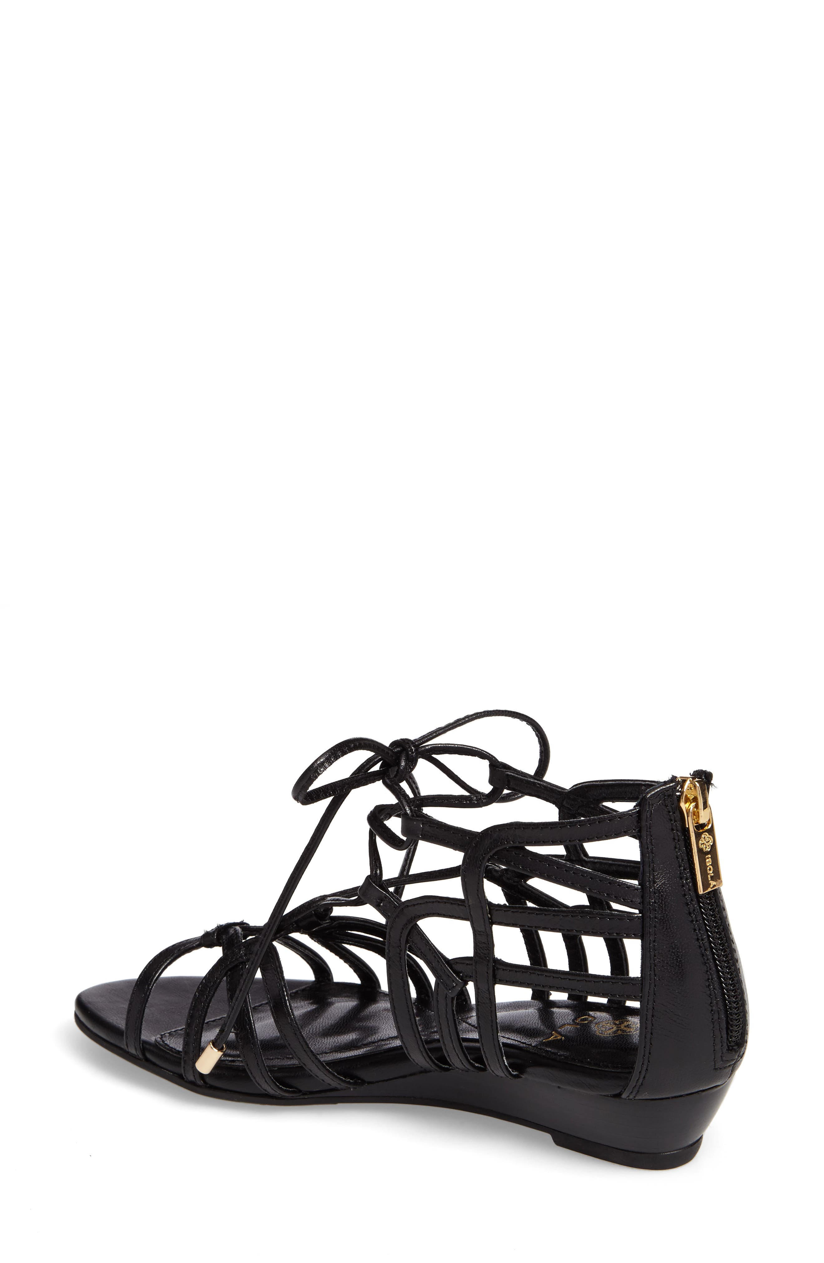 Elisia Lace-Up Sandal,                             Alternate thumbnail 2, color,                             BLACK LEATHER