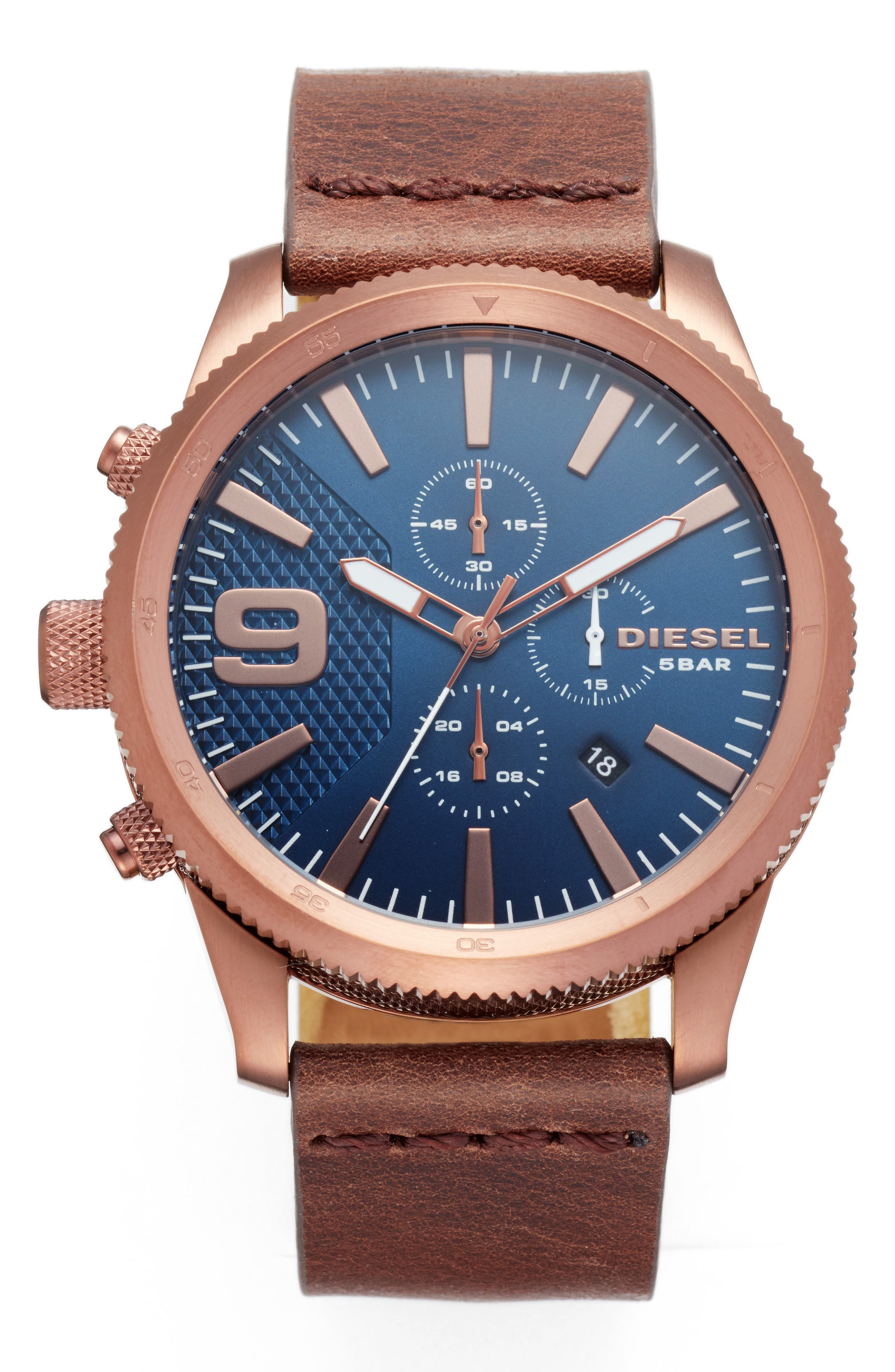 DIESEL<SUP>®</SUP> Chronograph Leather Strap Watch, 45mm, Main, color, 200