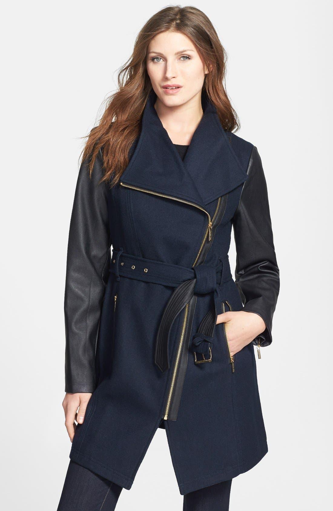 Wool Blend & Faux Leather Coat,                             Main thumbnail 1, color,                             410