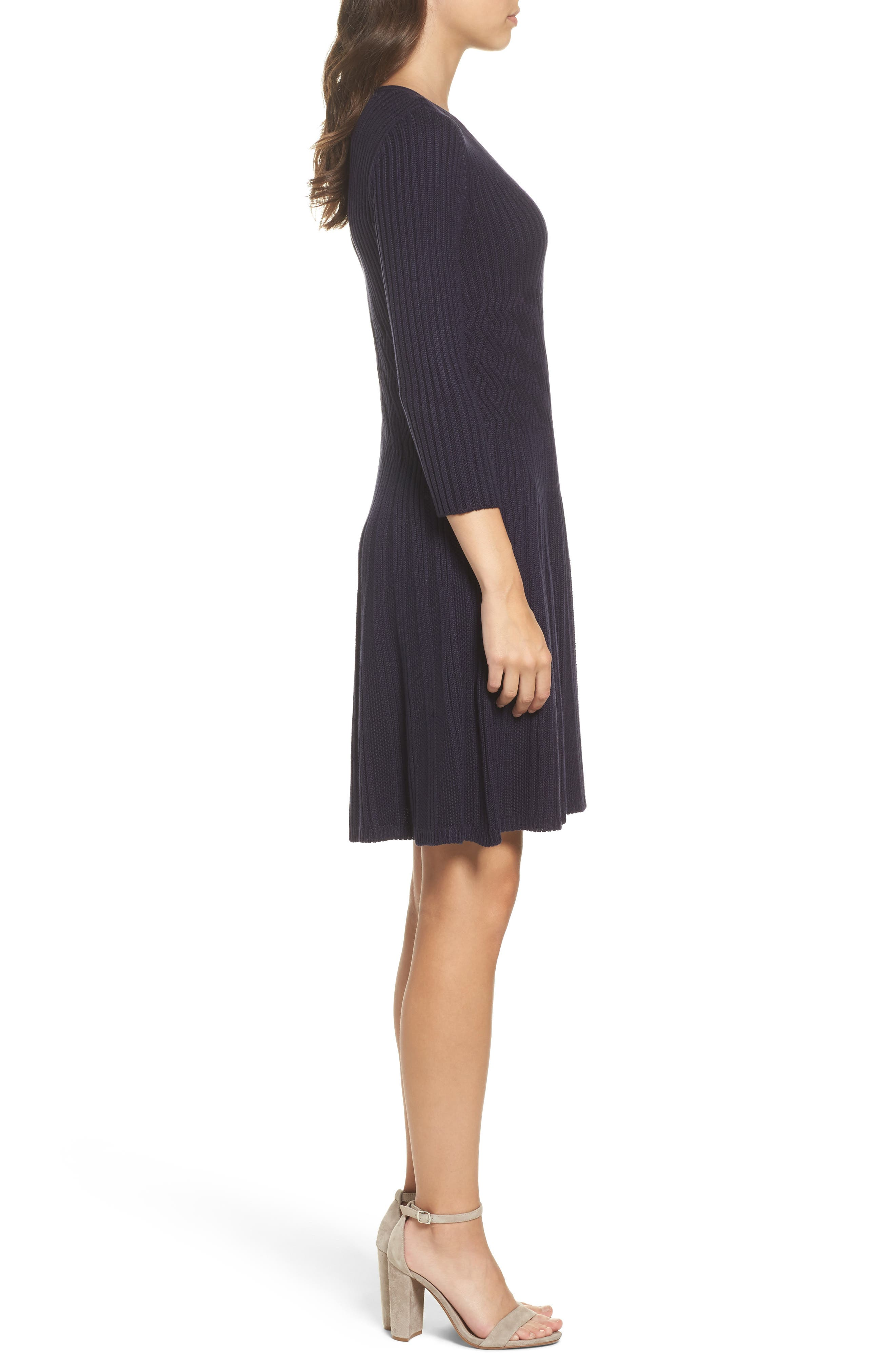 Ribbed Fit & Flare Dress,                             Alternate thumbnail 6, color,
