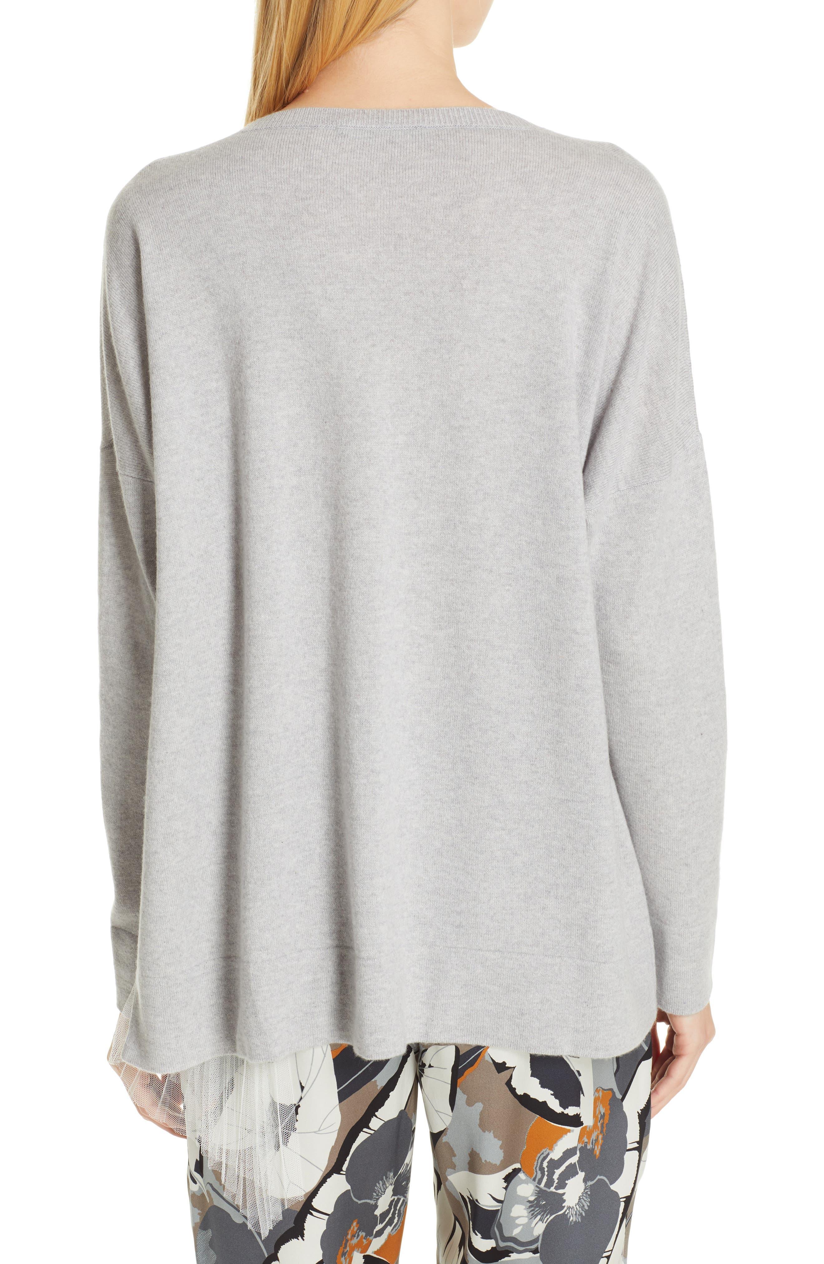 FABIANA FILIPPI,                             Tulle Inset Cashmere Sweater,                             Alternate thumbnail 2, color,                             GREY