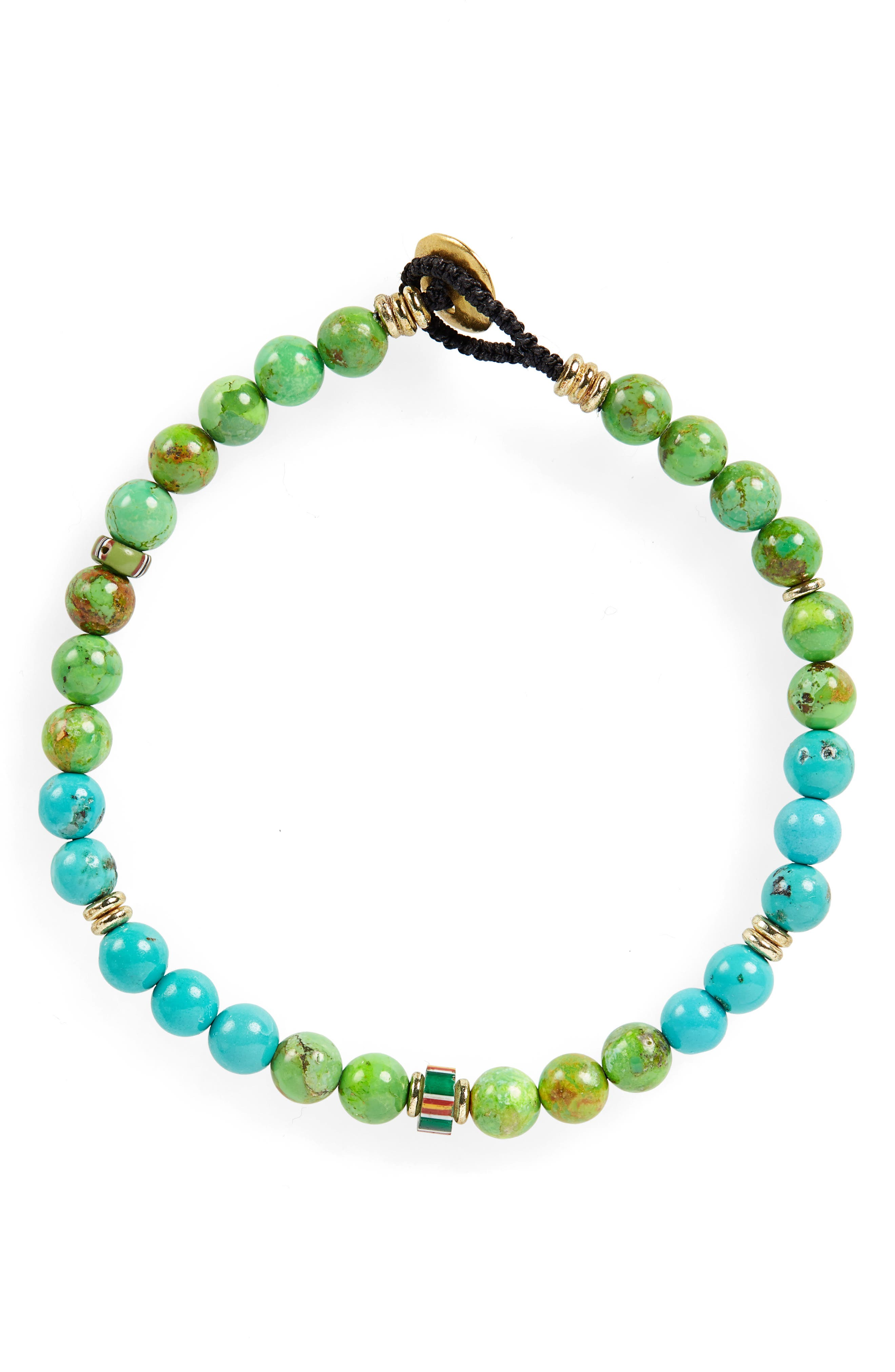 Turquoise Bead Bracelet,                             Main thumbnail 1, color,                             CHINESE TURQUOIOSE/ TURQUOISE
