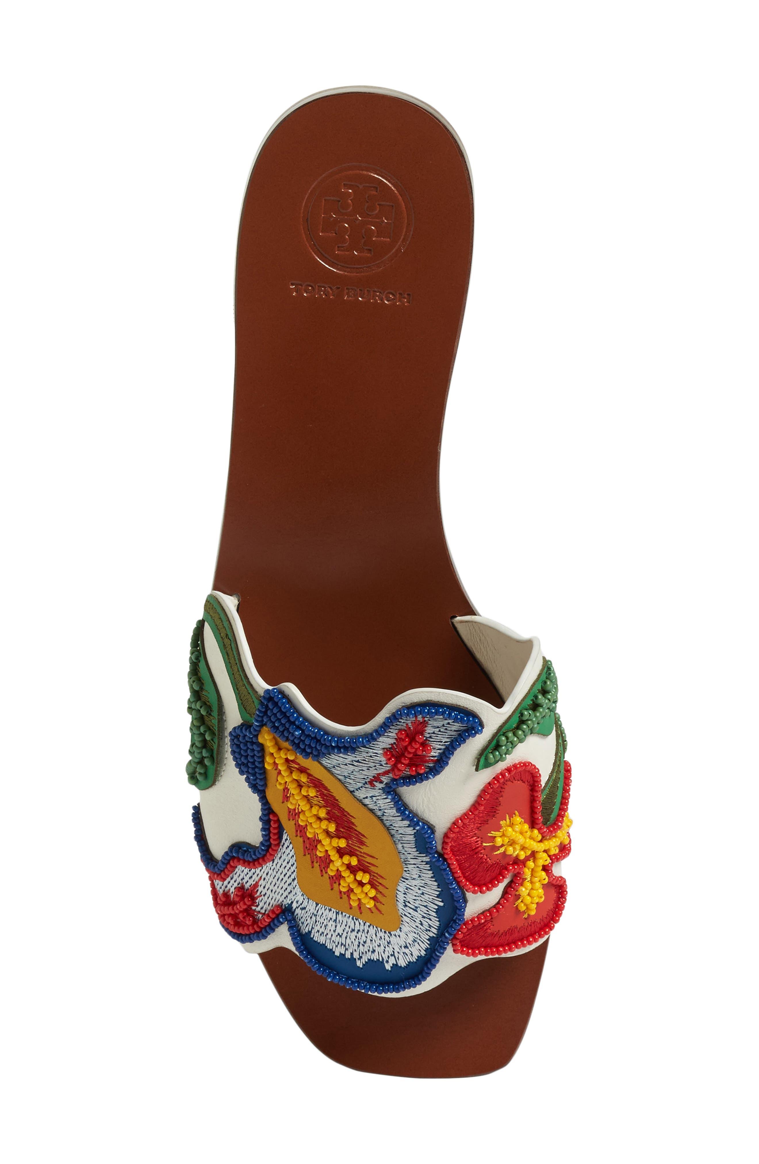 TORY BURCH,                             Bianca Floral Embellished Slide Sandal,                             Alternate thumbnail 5, color,                             900