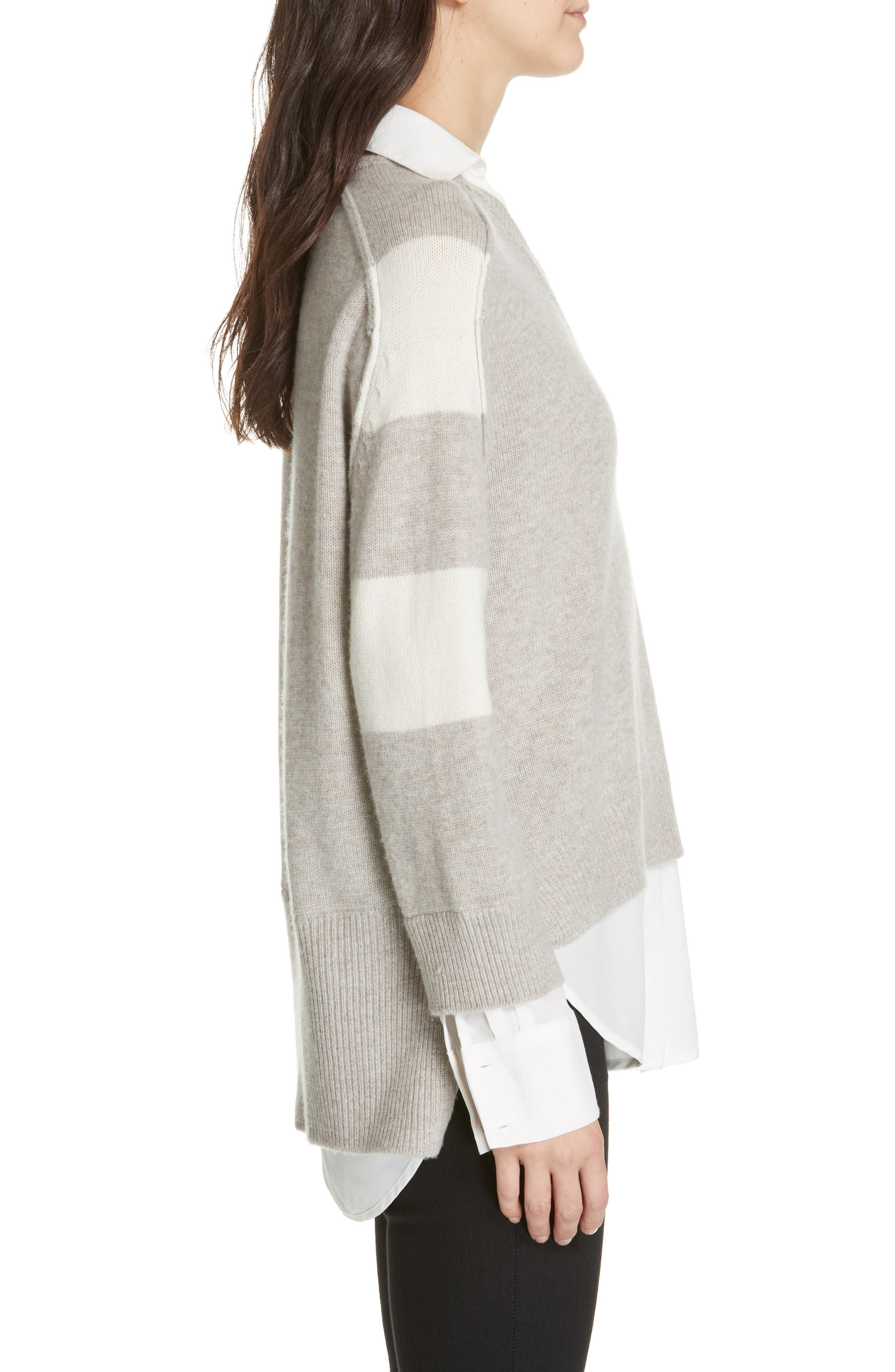 Layered Wool & Cashmere Sweater,                             Alternate thumbnail 3, color,                             LIGHT CHIA STRIPE
