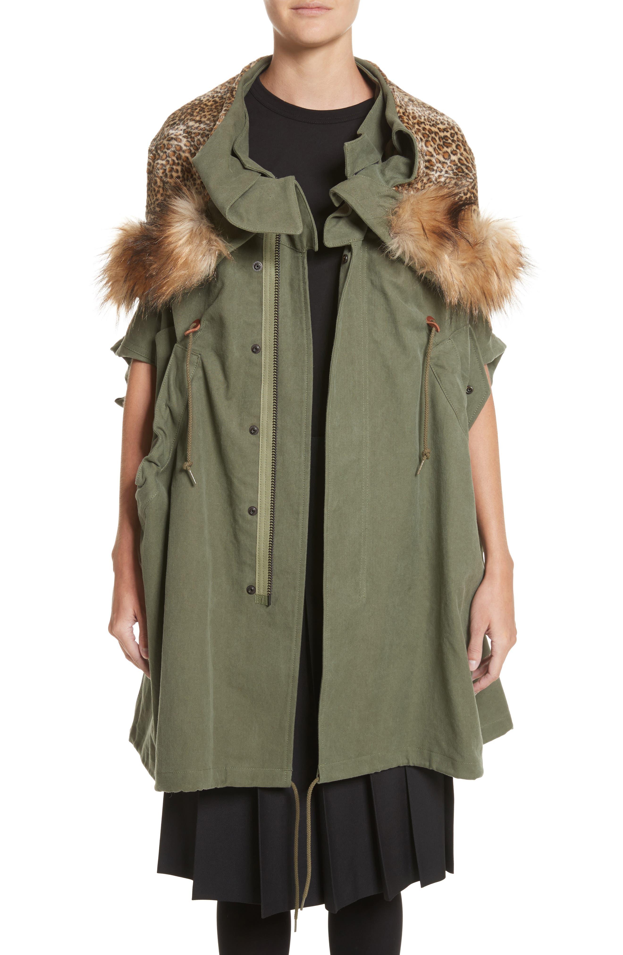 Army Coat with Cheetah Faux Fur Hood,                         Main,                         color, 340