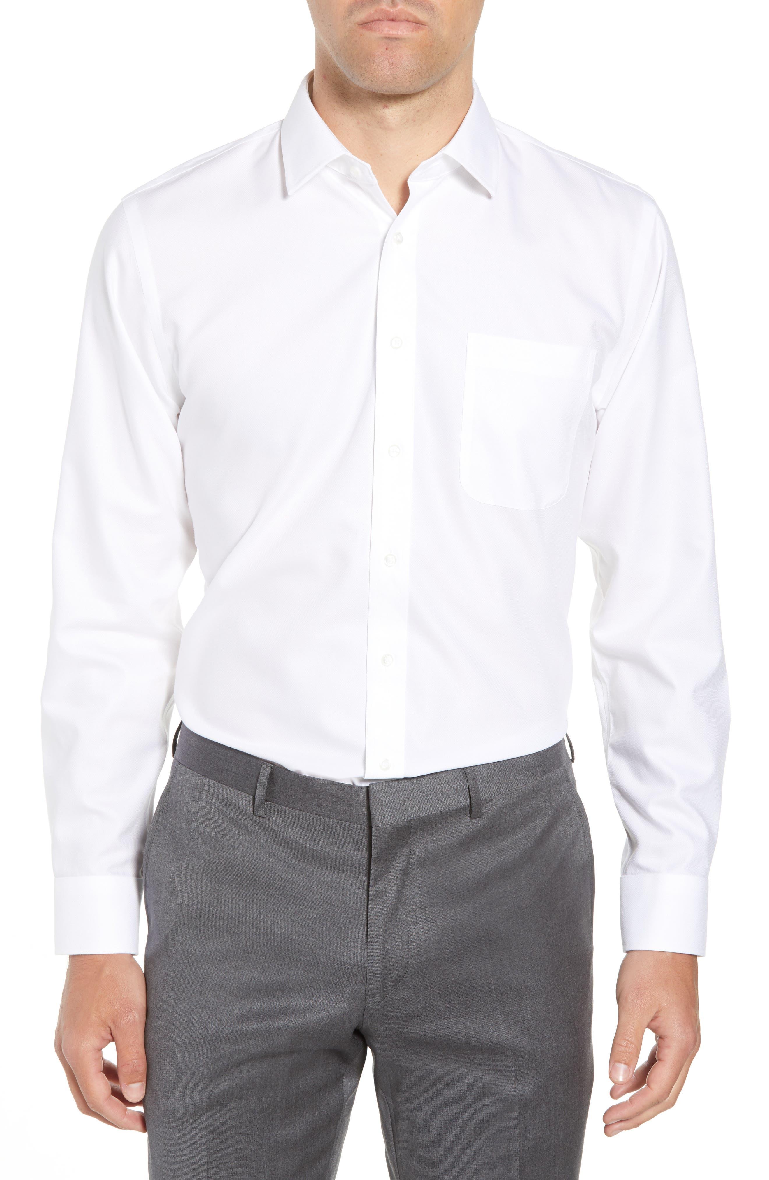 Smartcare<sup>™</sup> Trim Fit Solid Dress Shirt,                         Main,                         color, 100