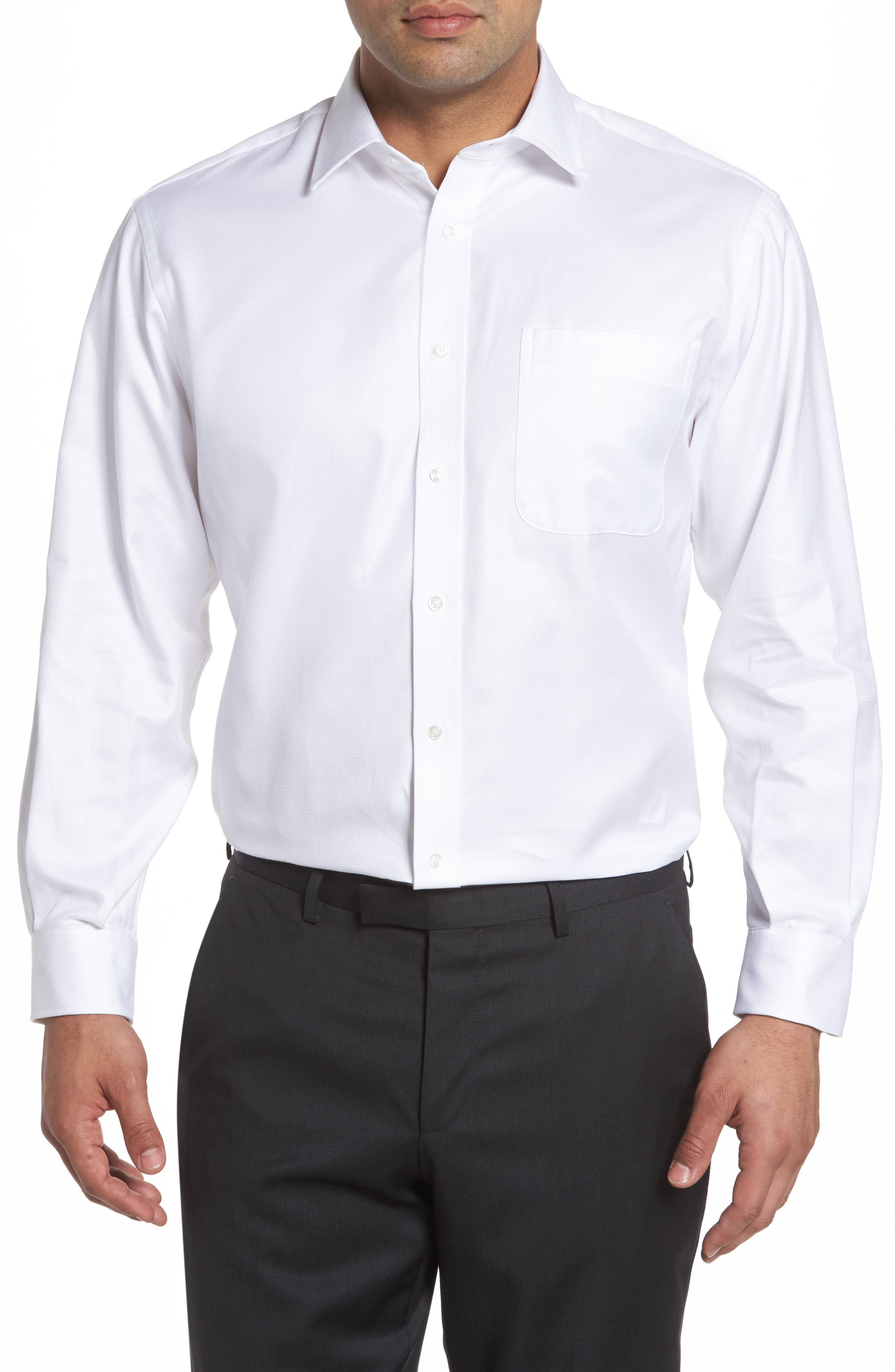 Classic Fit Textured Dress Shirt,                         Main,                         color, WHITE