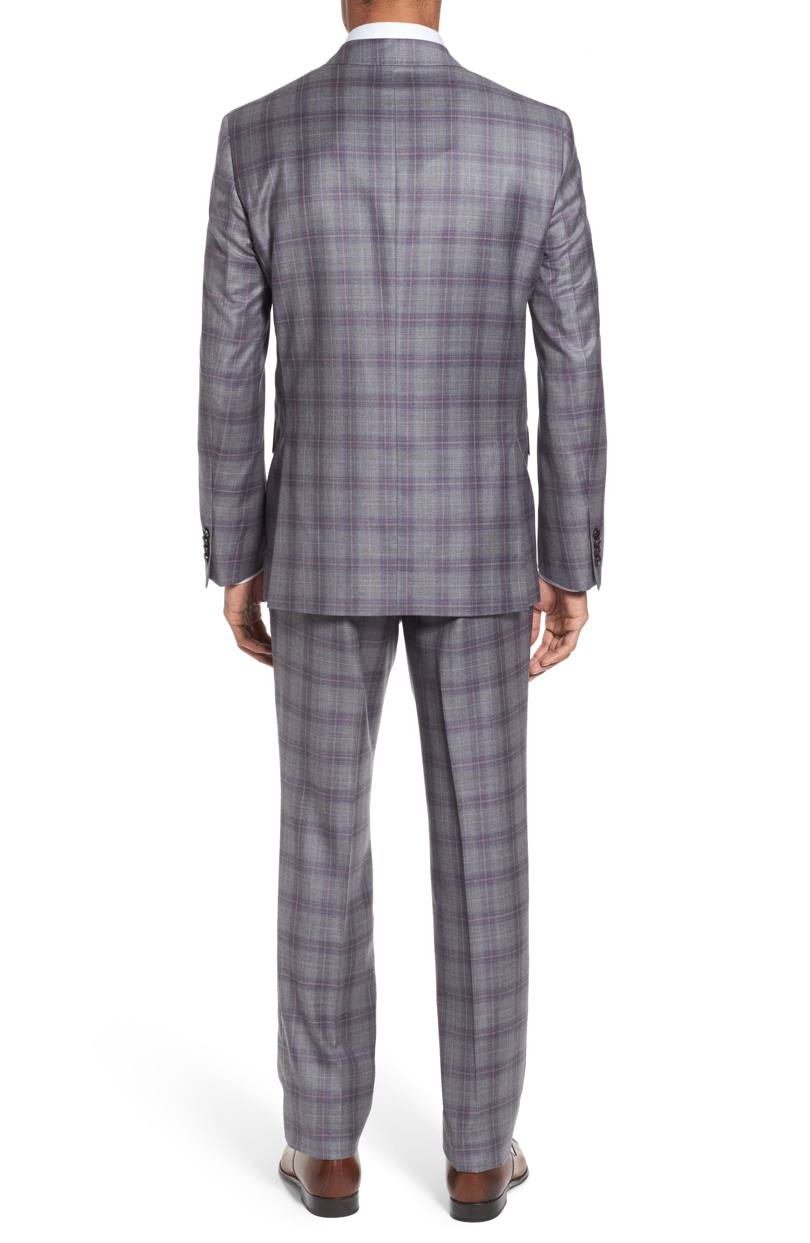 Jay Trim Fit Plaid Wool Suit,                             Alternate thumbnail 2, color,                             020