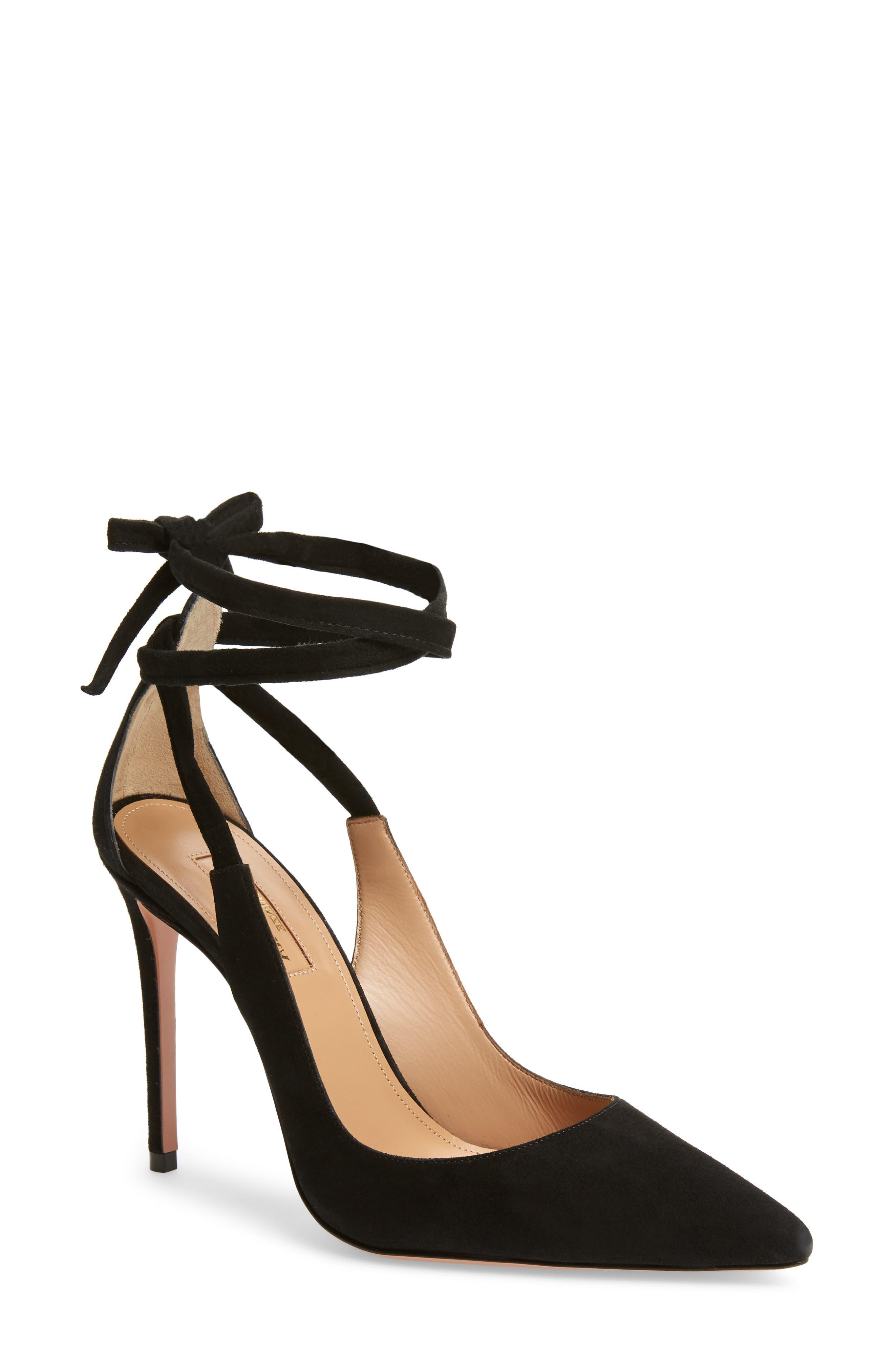 Milano Ankle Tie Pump,                         Main,                         color, BLACK