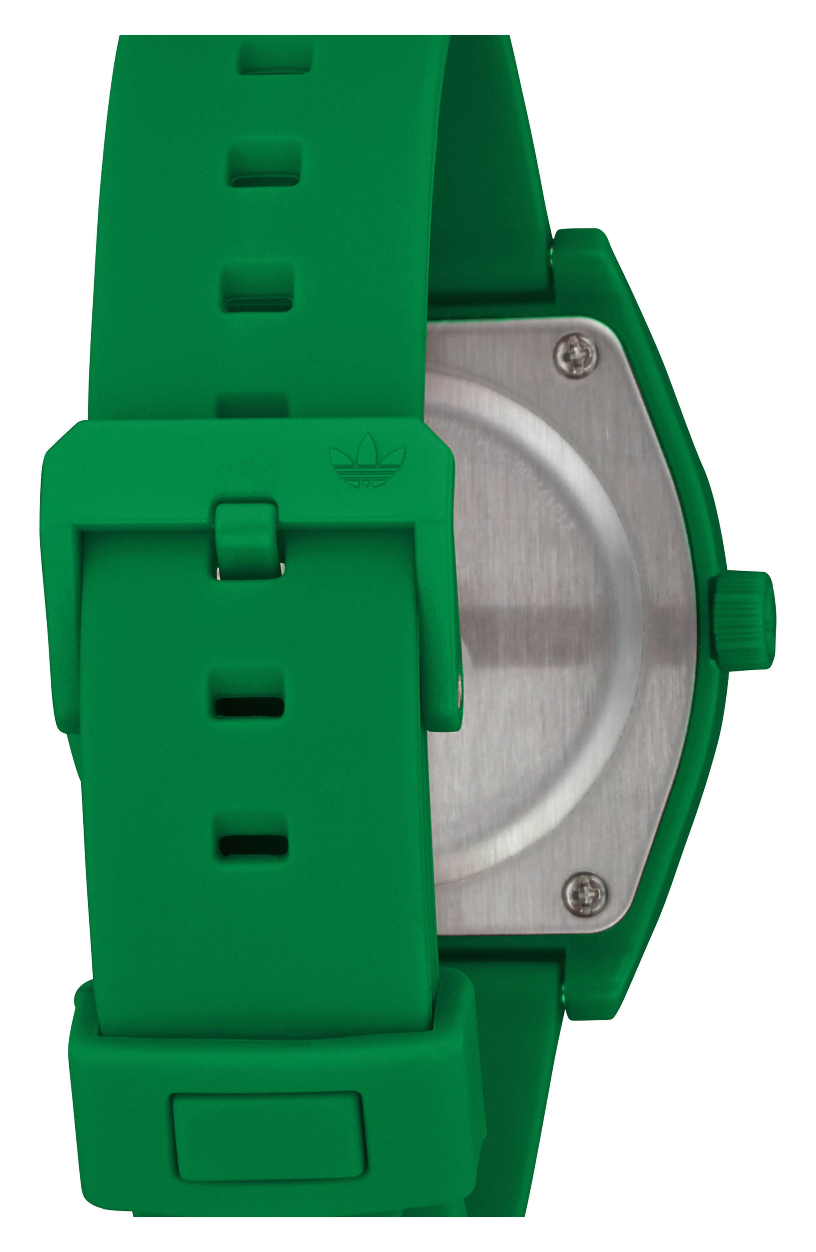ADIDAS,                             Process Silicone Strap Watch, 38mm,                             Alternate thumbnail 2, color,                             GREEN