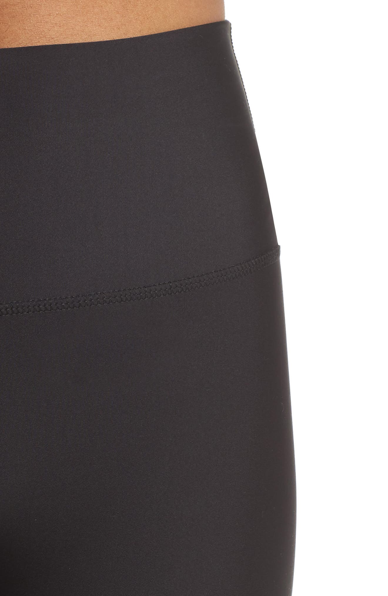 Airbrush Tech Lift High Waist Capris,                             Alternate thumbnail 4, color,                             BLACK
