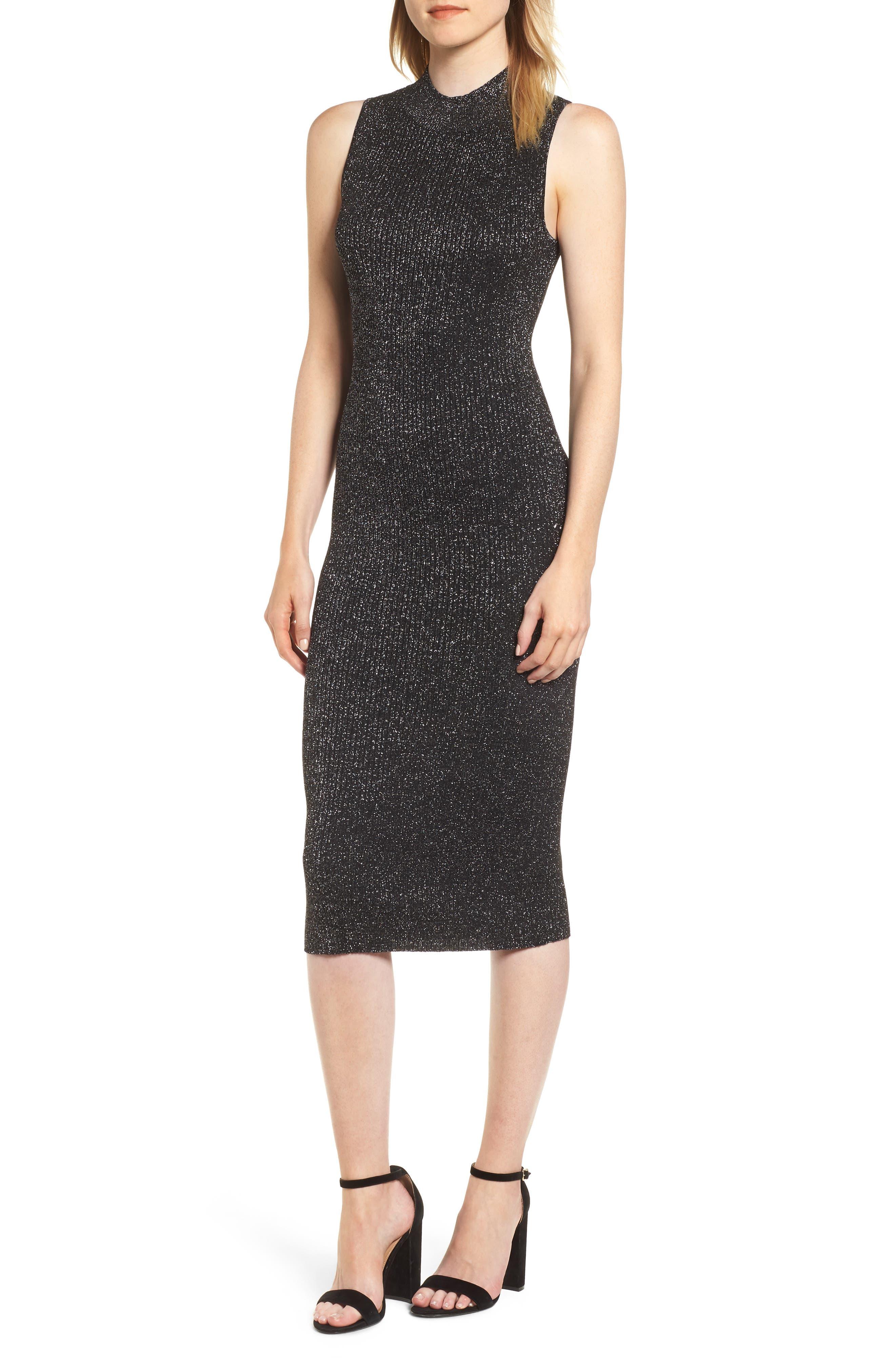 Chelsea28 Metallic Ribbed Body-Con Dress, Black