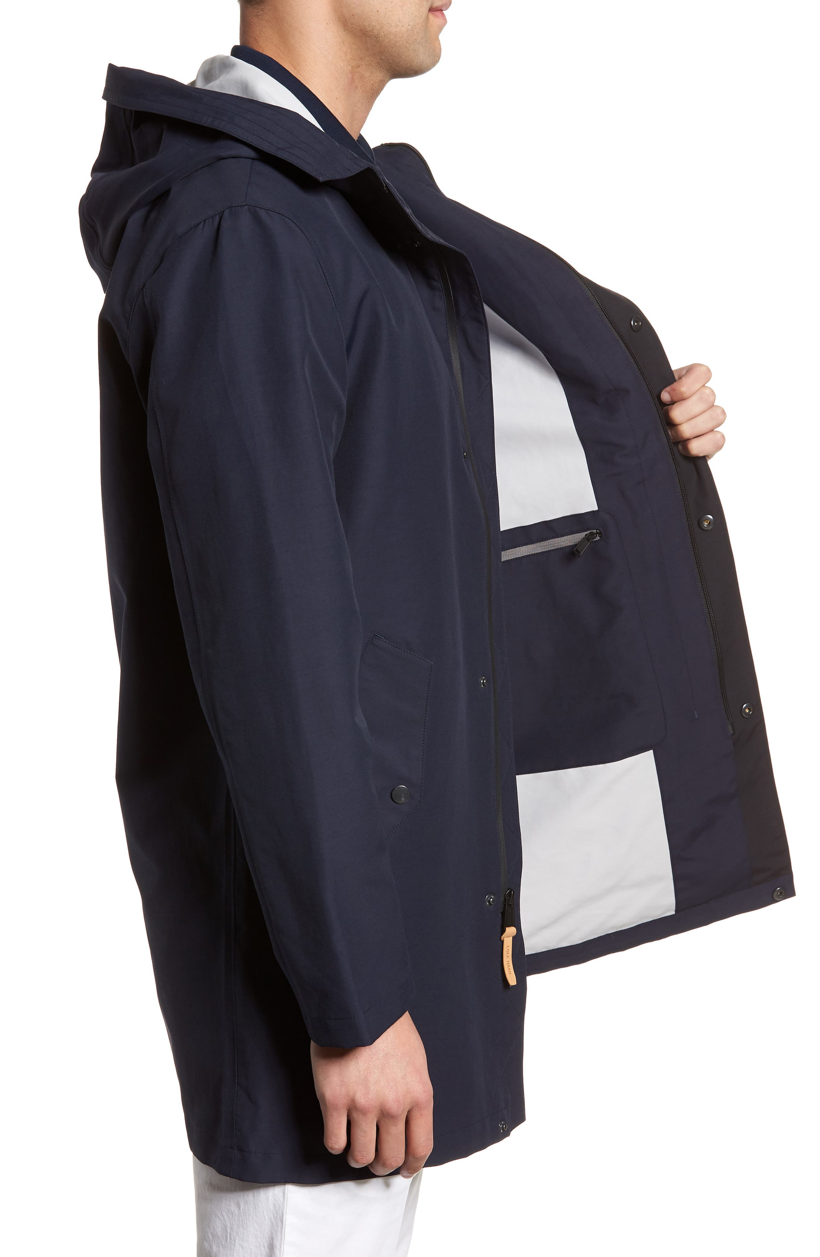 Bonded Cotton Blend Rain Jacket,                             Alternate thumbnail 3, color,                             NAVY