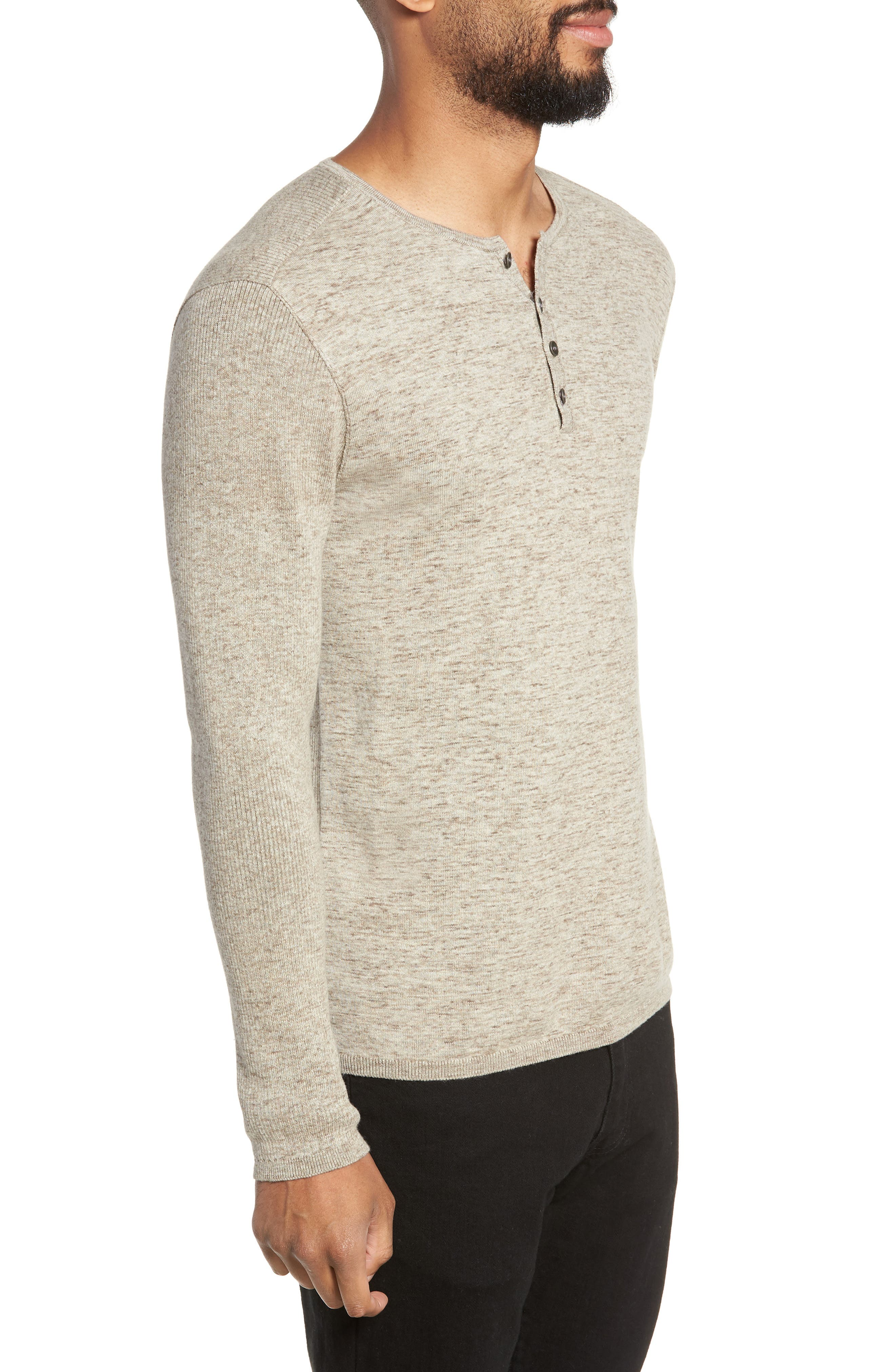 Cotton & Wool Henley Sweater,                             Alternate thumbnail 3, color,                             RYE