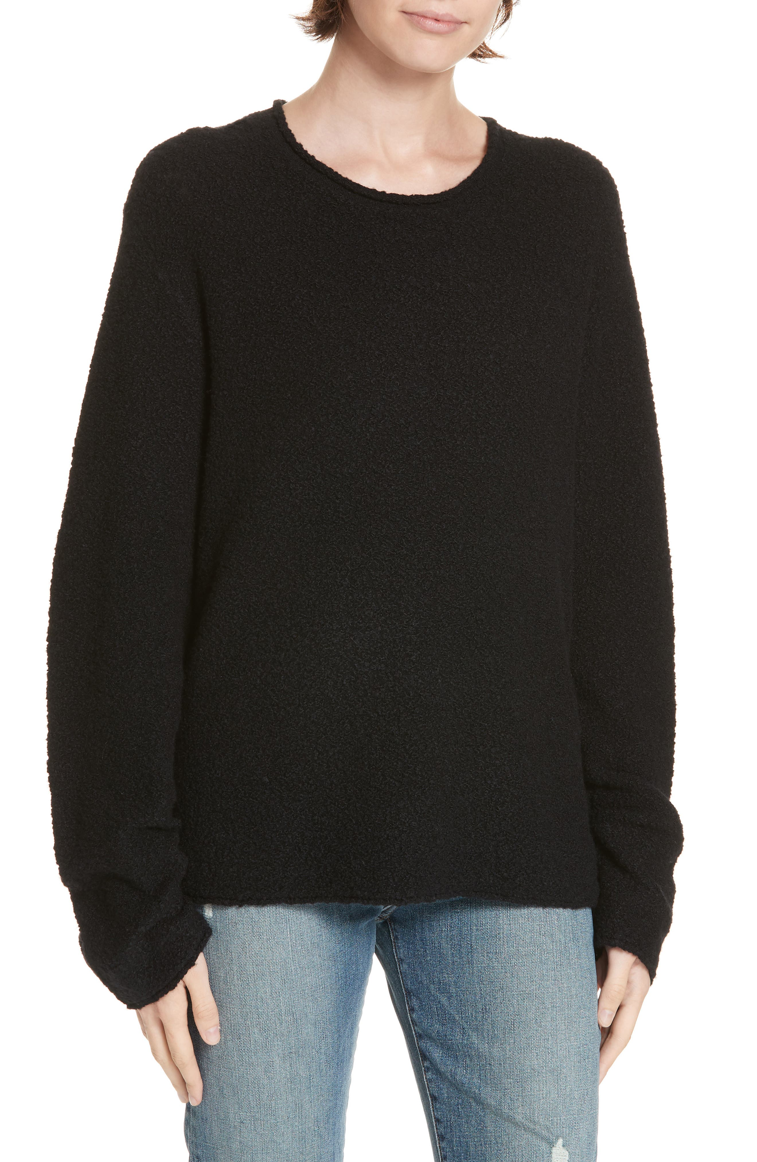 Bouclé Crewneck Sweater,                             Main thumbnail 1, color,                             BLACK
