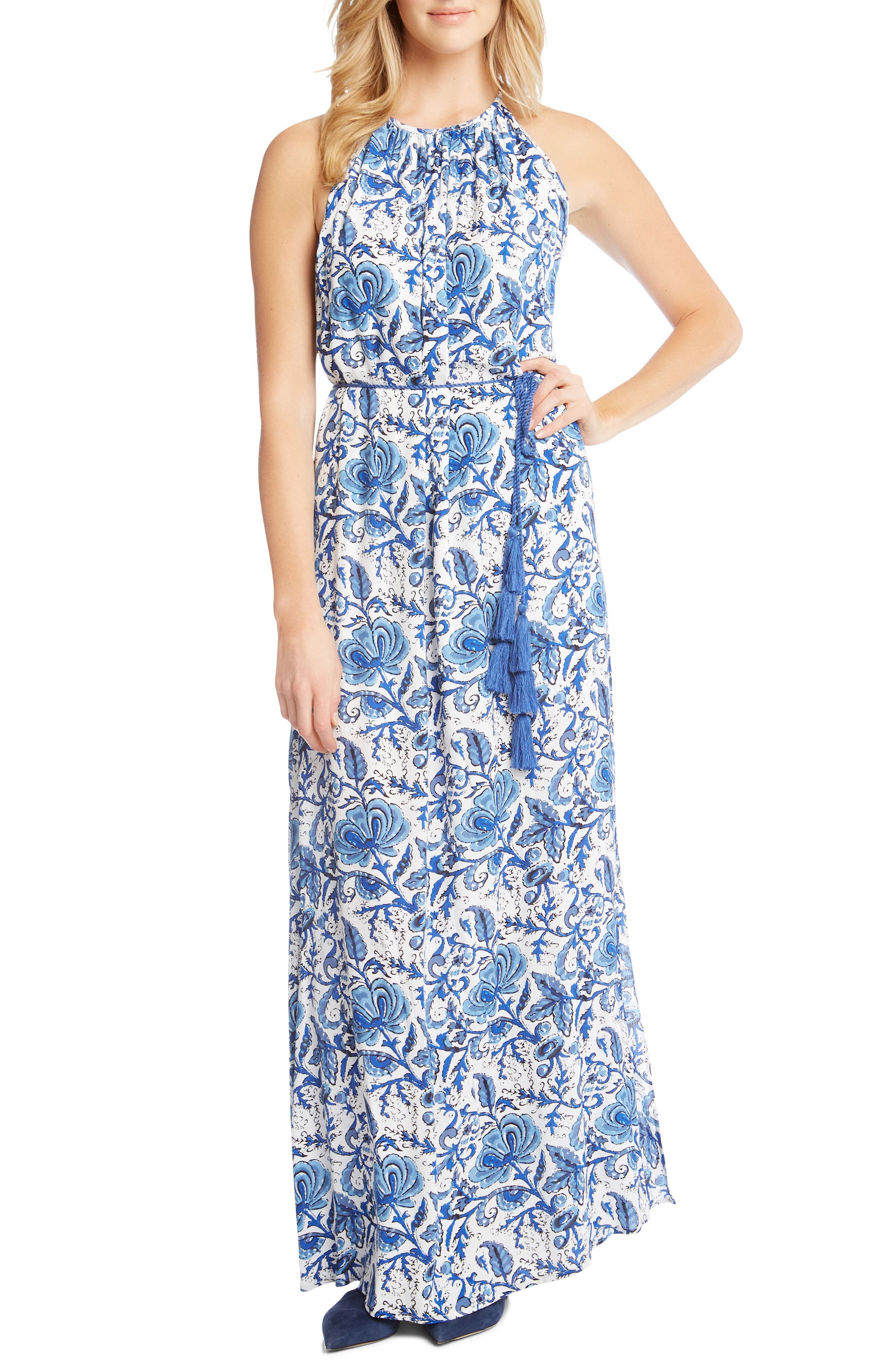 Halter Slit Side Maxi Crepe Dress,                             Main thumbnail 1, color,