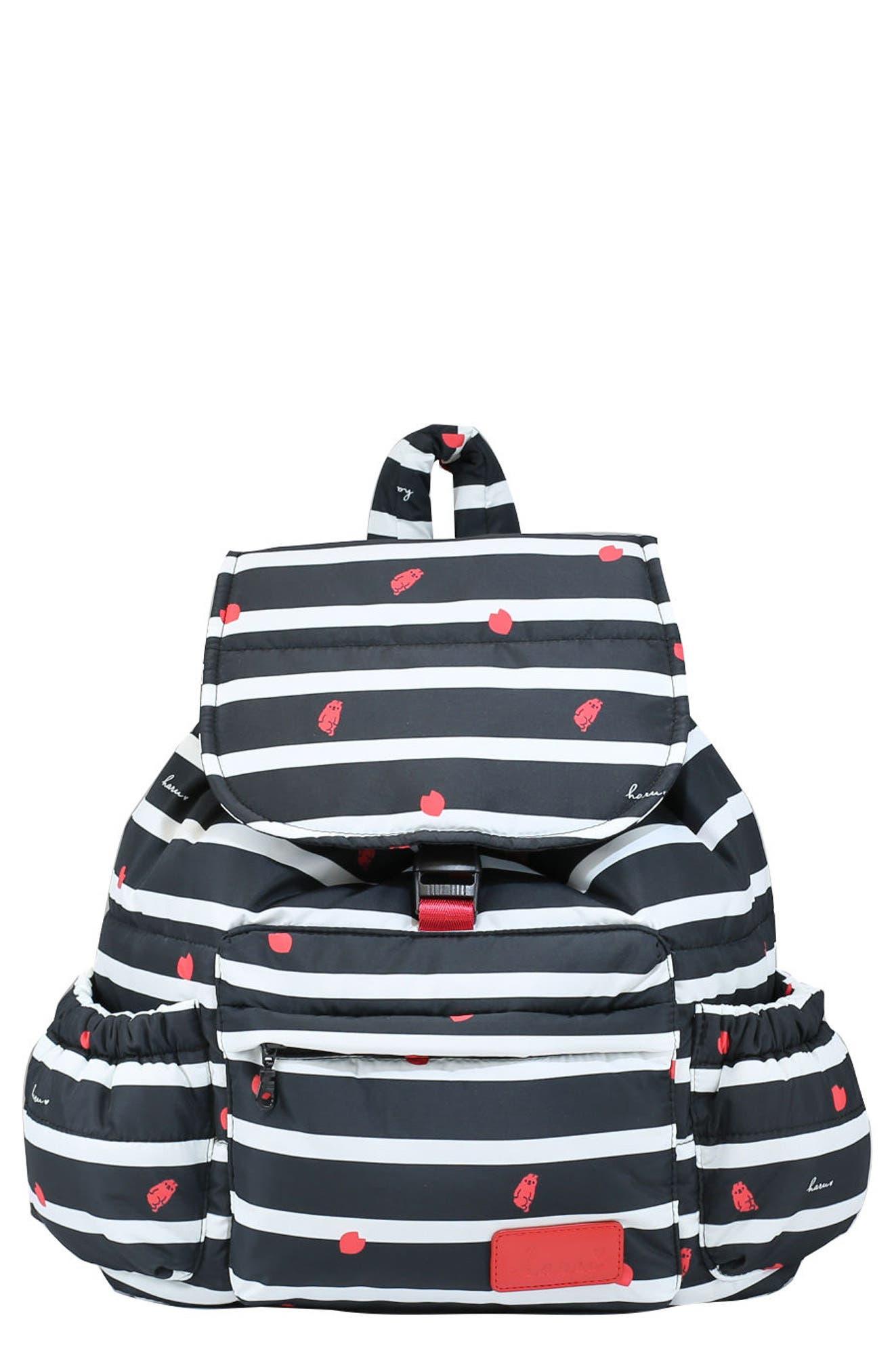 Print Water-Repellent Diaper Backpack,                             Main thumbnail 1, color,                             BLACK SAKURA
