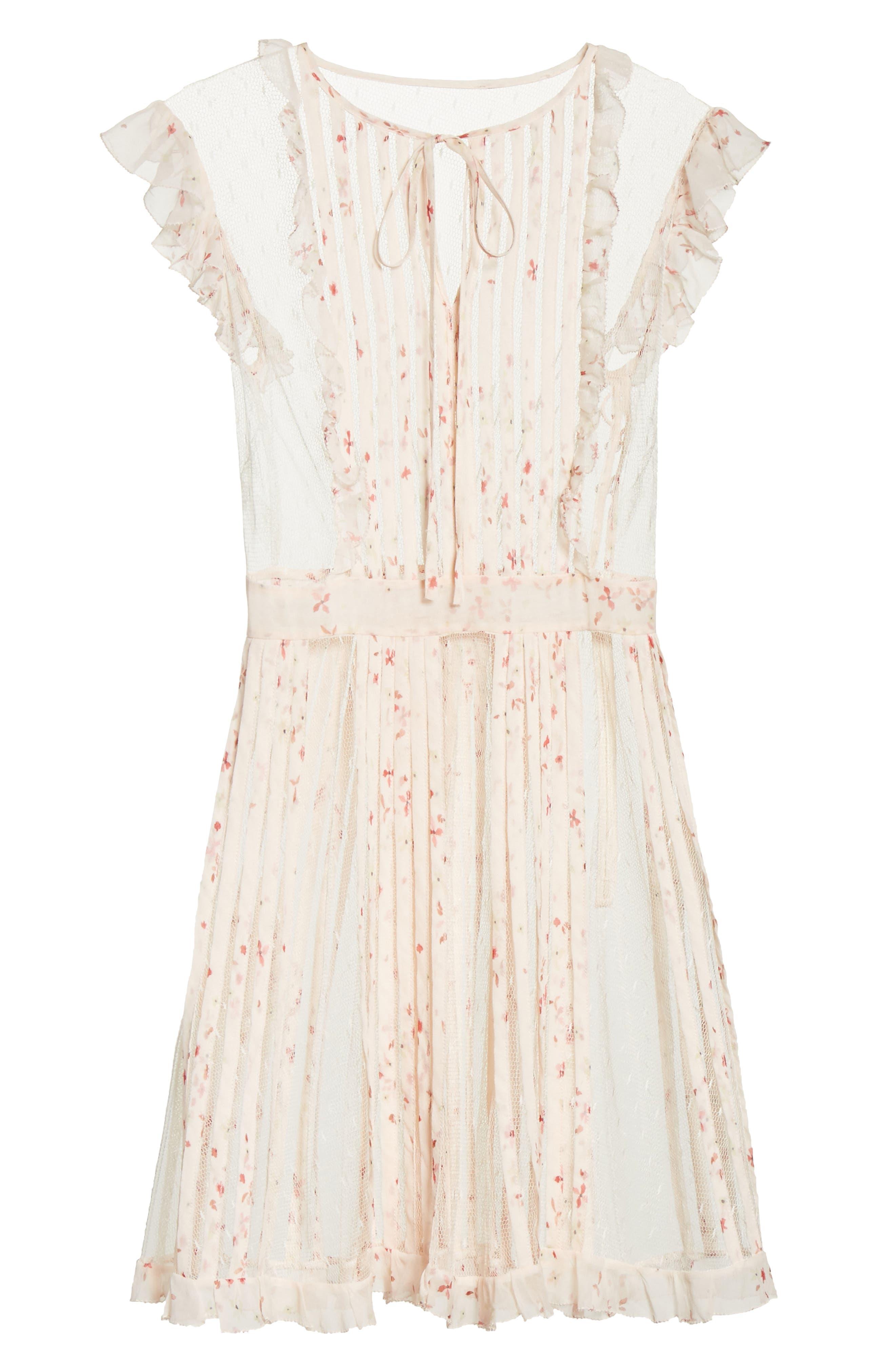 Point dEsprit Ruffle Trim Dress,                             Alternate thumbnail 6, color,                             900