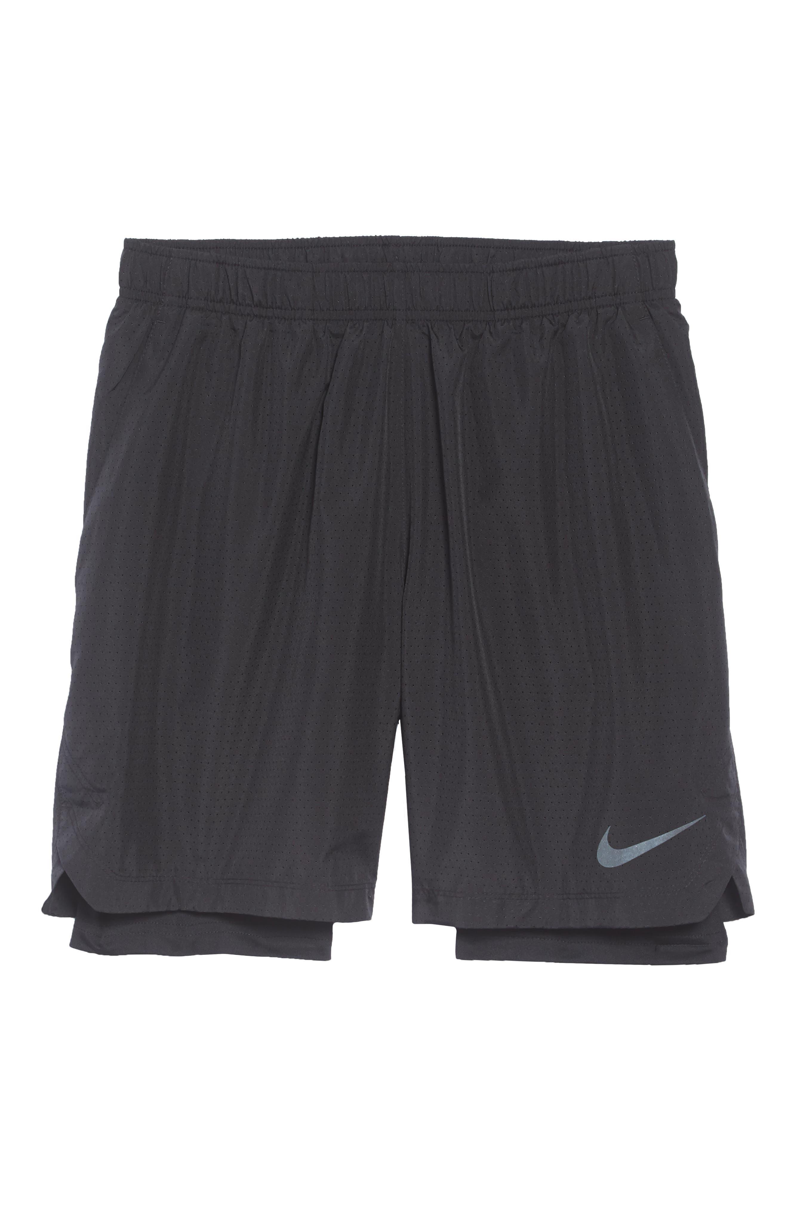 Running Challenger 2-in-1 Shorts,                             Alternate thumbnail 6, color,                             BLACK/ BLACK
