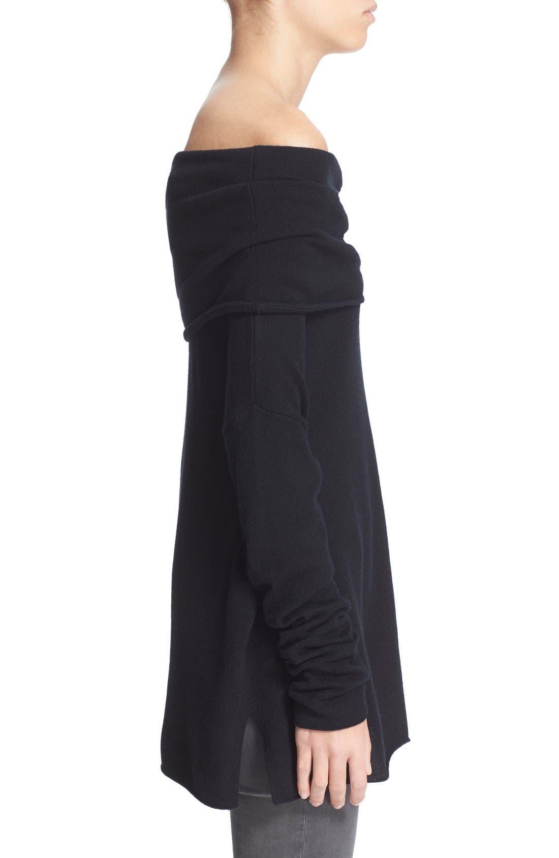 VINCE,                             Cashmere Off the Shoulder Pullover,                             Alternate thumbnail 4, color,                             001