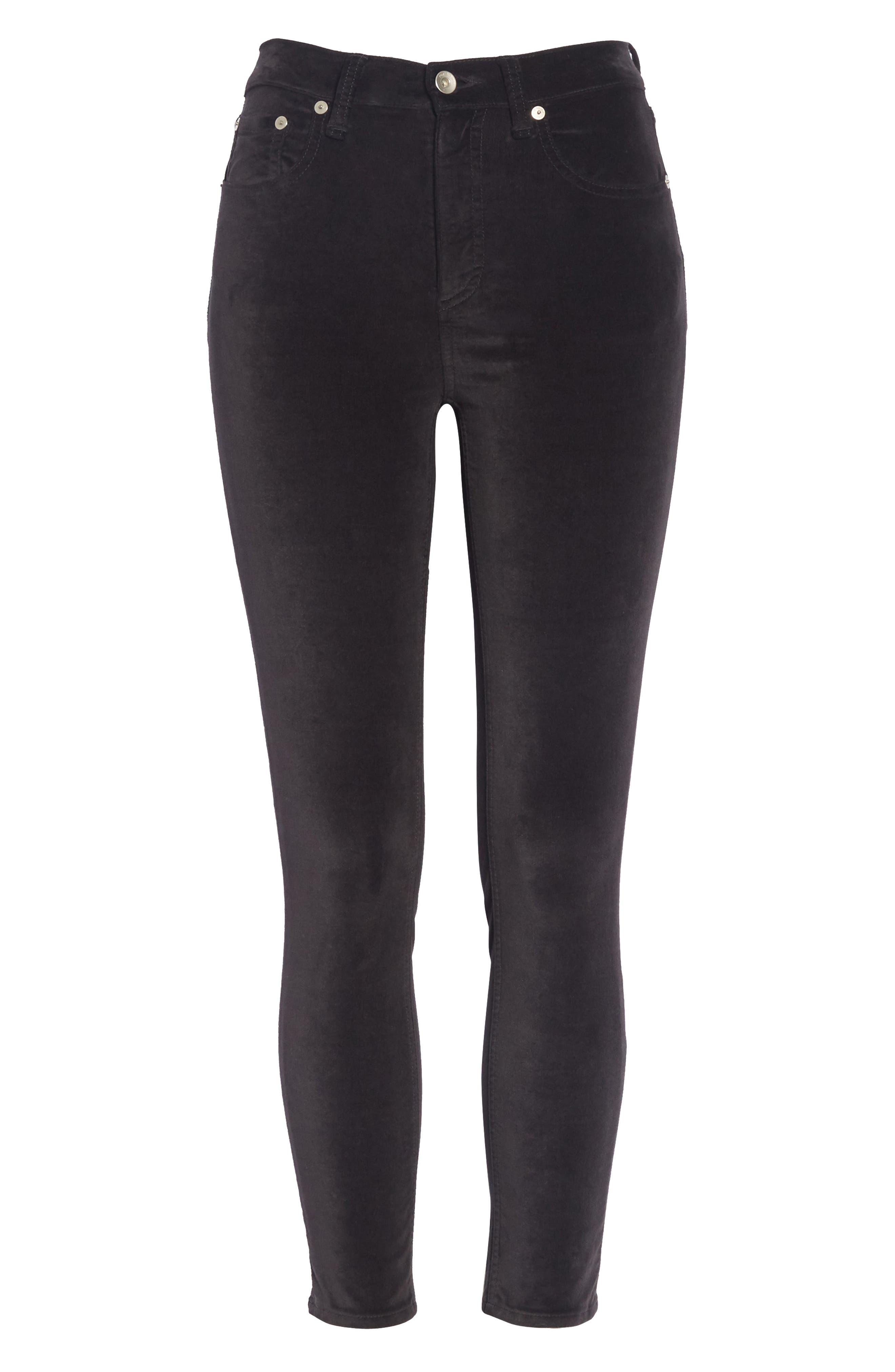 High Waist Velvet Skinny Pants,                             Alternate thumbnail 6, color,                             BLACK