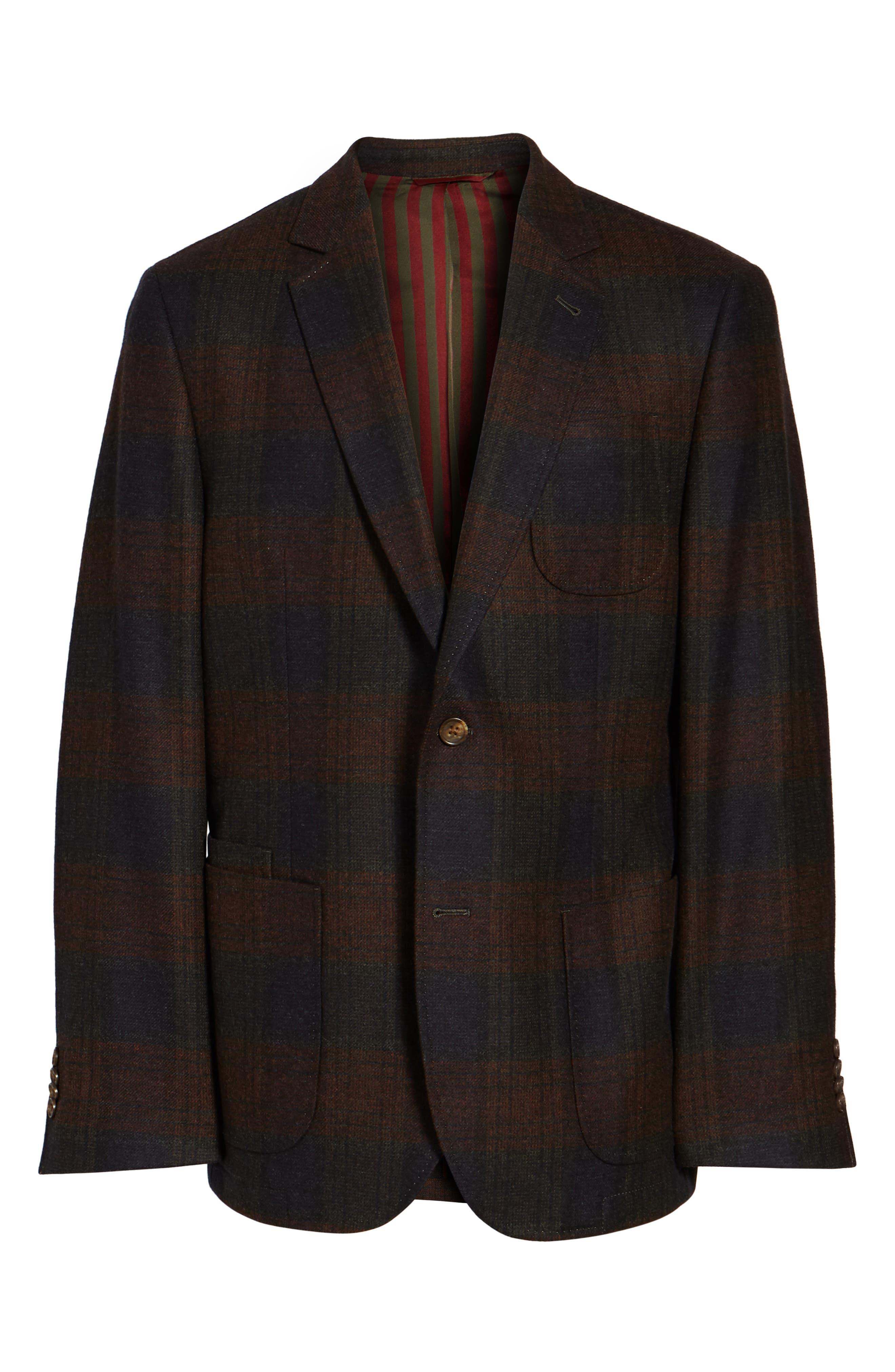 Plaid Wool Sport Coat,                             Alternate thumbnail 5, color,                             021
