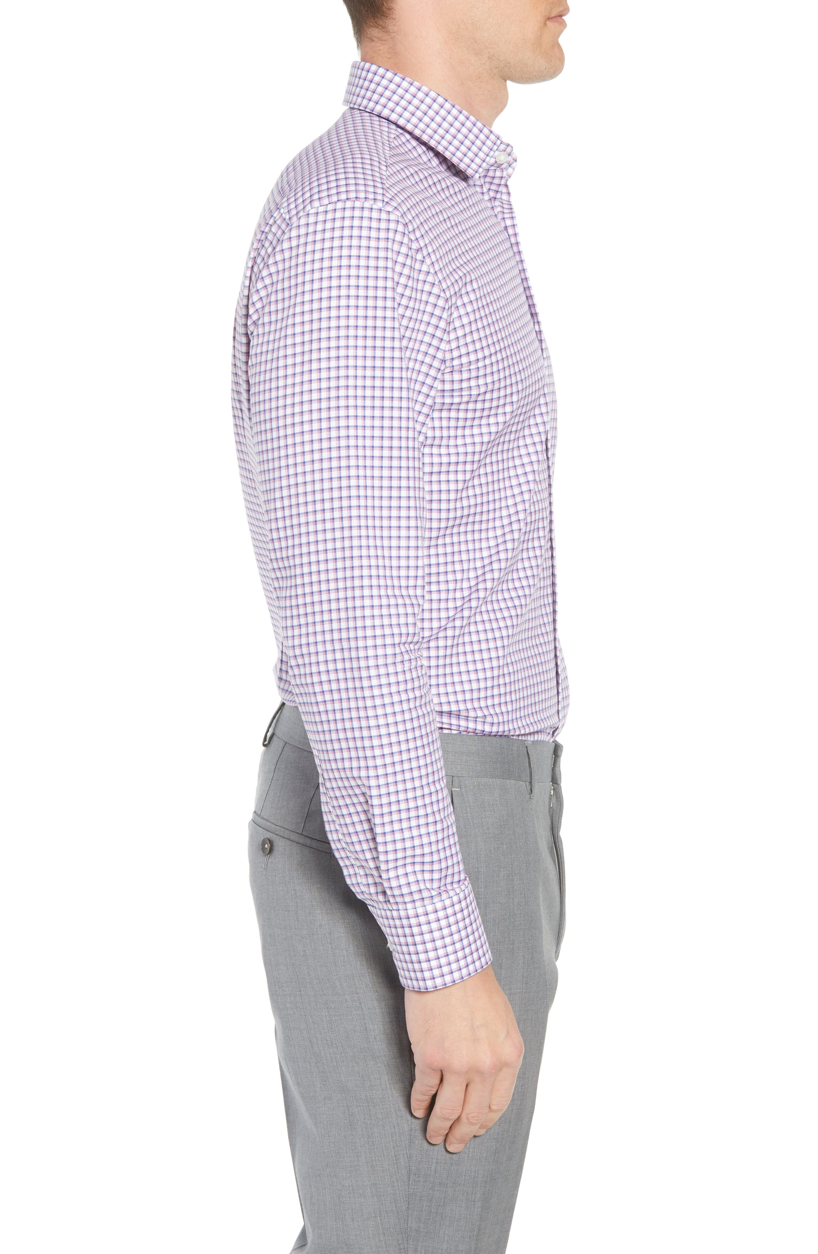 Marley Sharp Fit Plaid Dress Shirt,                             Alternate thumbnail 4, color,                             673