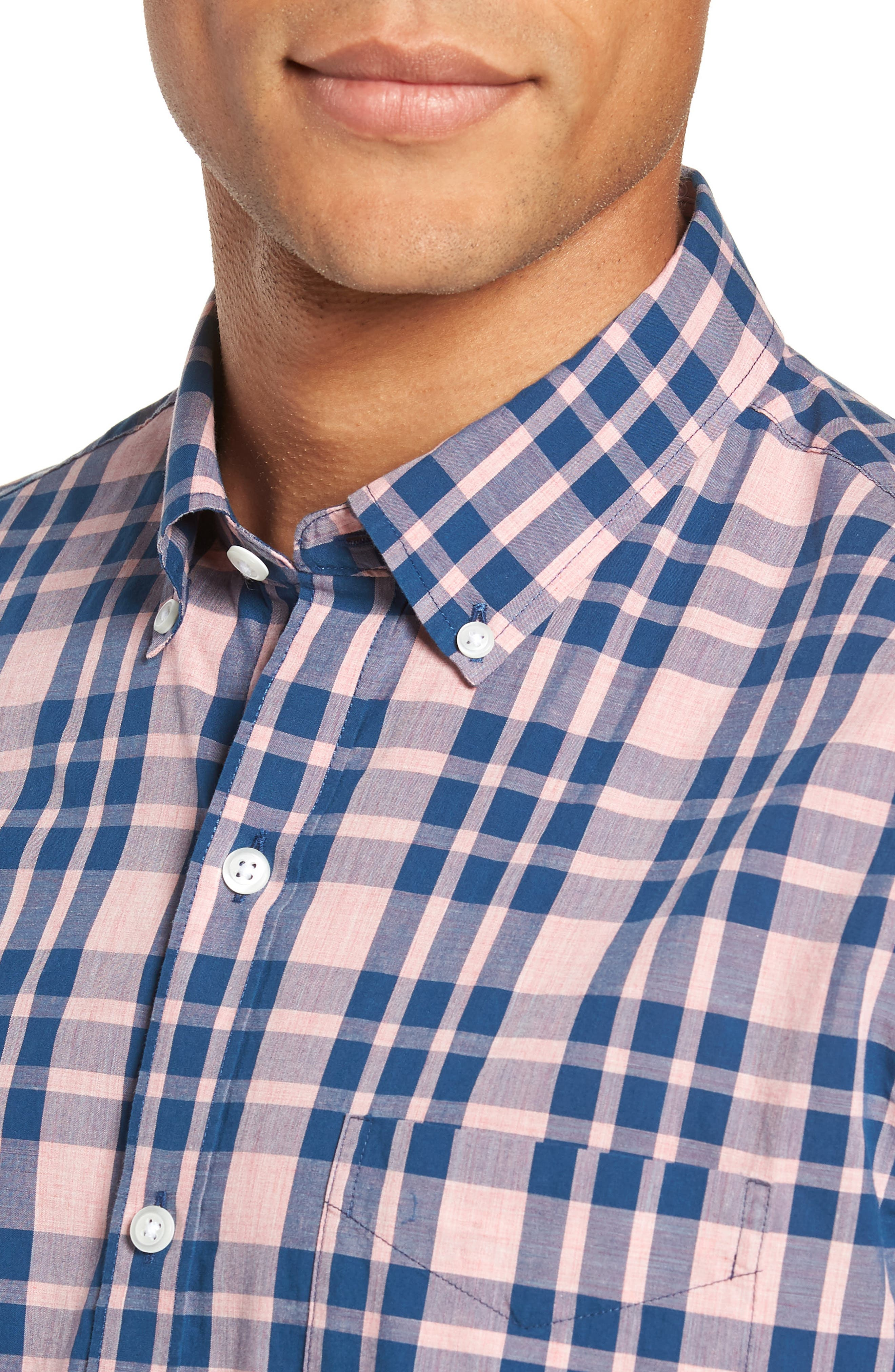 Summerweight Slim Fit Check Sport Shirt,                             Alternate thumbnail 2, color,                             HARDY PLAID - HEATHER ROSE